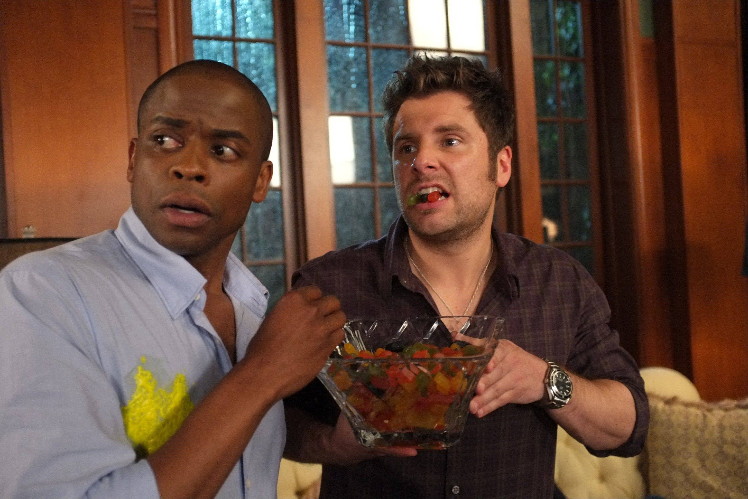 "Dule Hill as Gus Guster, left, and James Roday as Shawn Spencer in a scene from the 100th episode of ""Psych"" airing Wednesday on USA Network."