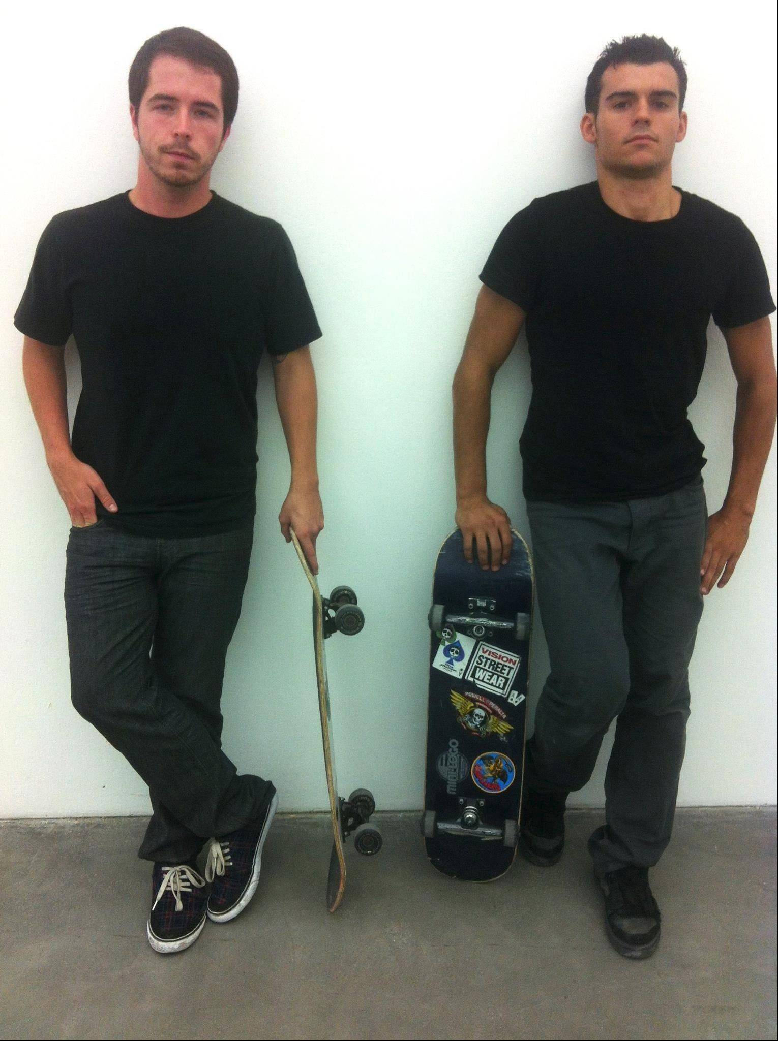 Filmmaker Brett Novak of Lombard, left, has made international skateboarding pro Kilian Martin the subject of many of his films.