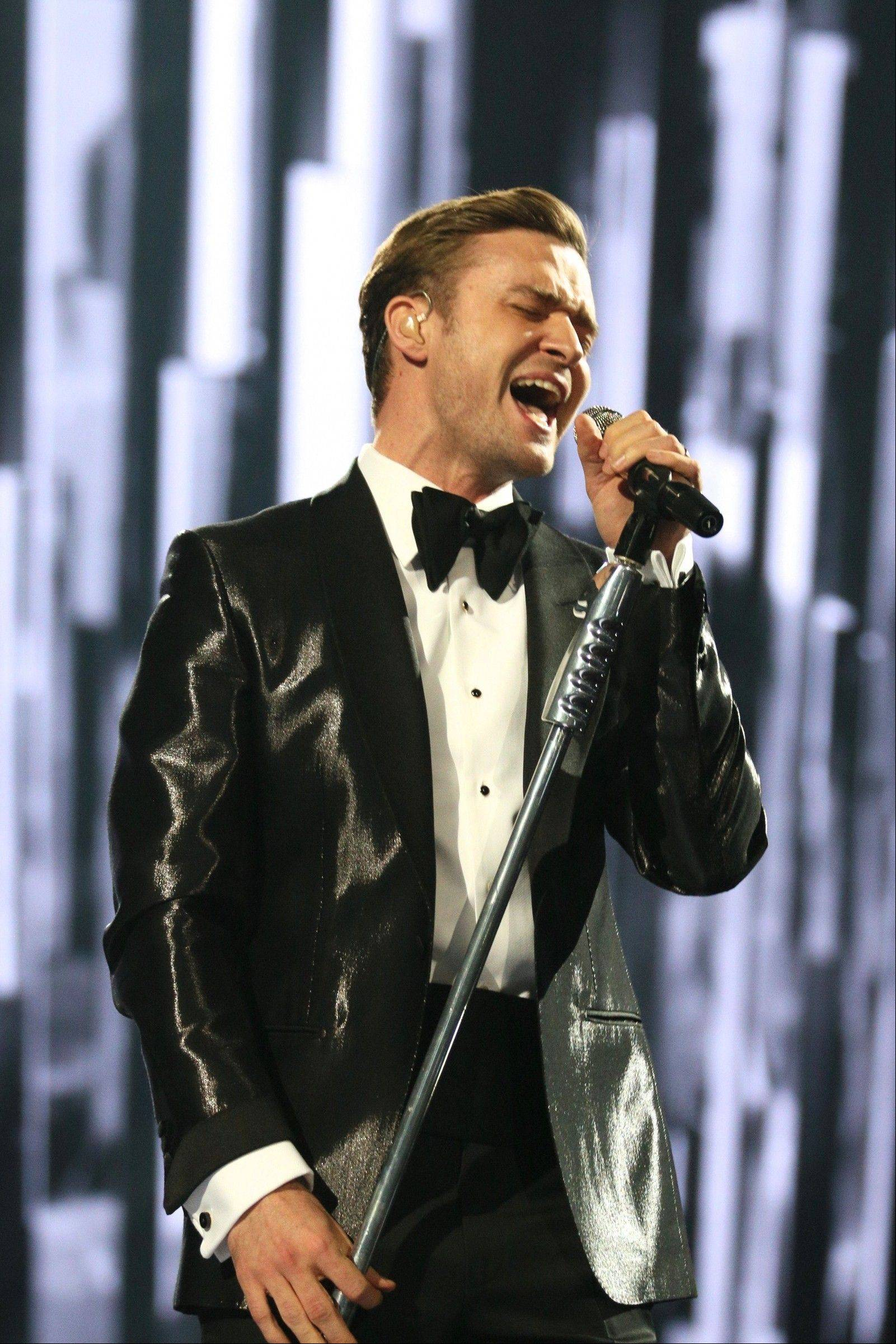 Justin Timberlake performs on stage during the BRIT Awards 2013 in London.