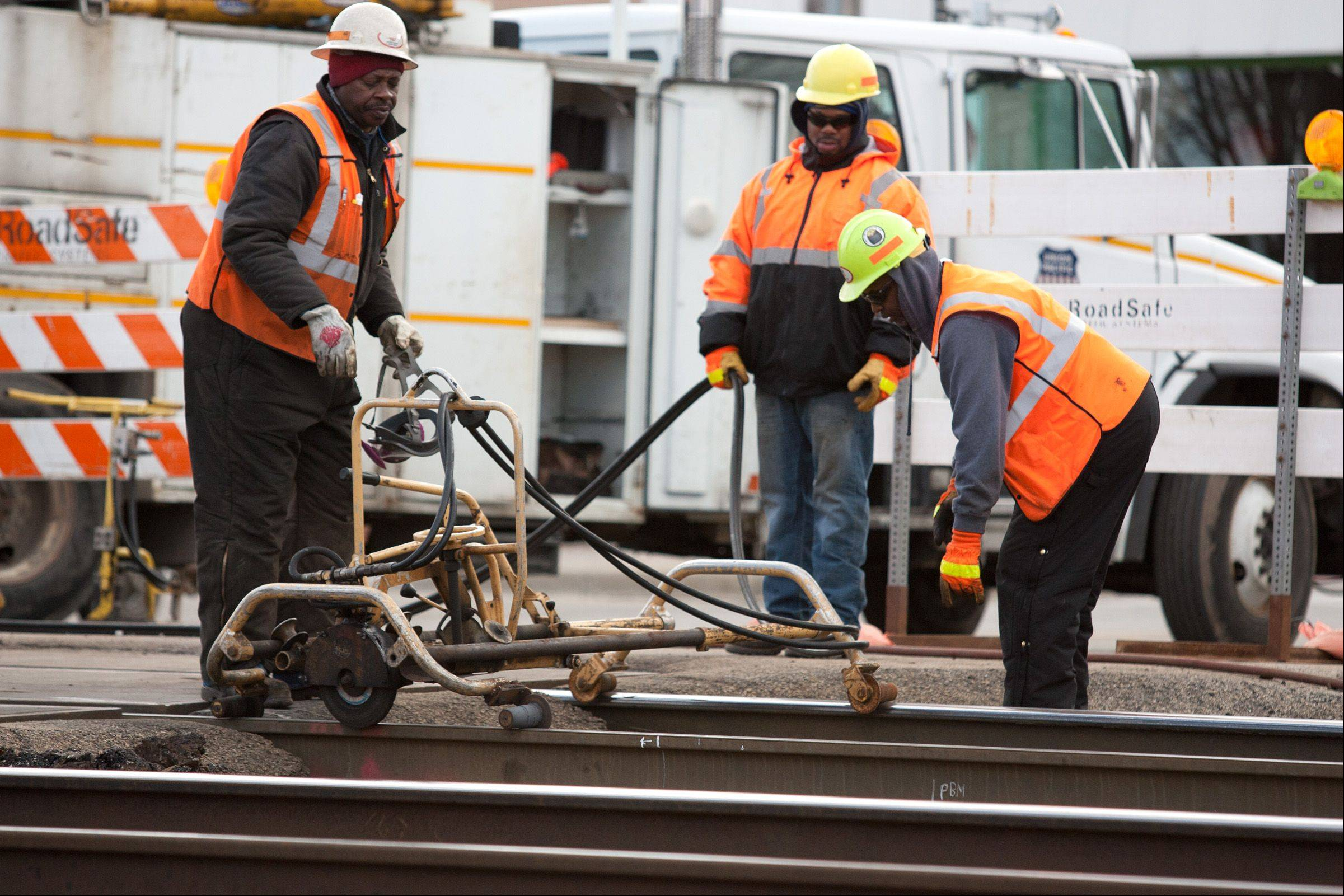 Union Pacific railroad workers are making repairs this week at the Main Street crossing in downtown Glen Ellyn. The work is expected to be complete Friday.