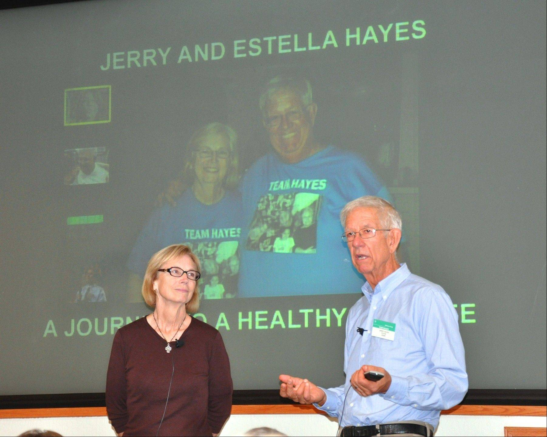 Estrella and Jerry Hayes of Wheaton, contestants on season seven of the Biggest Loser, give motivation speeches.