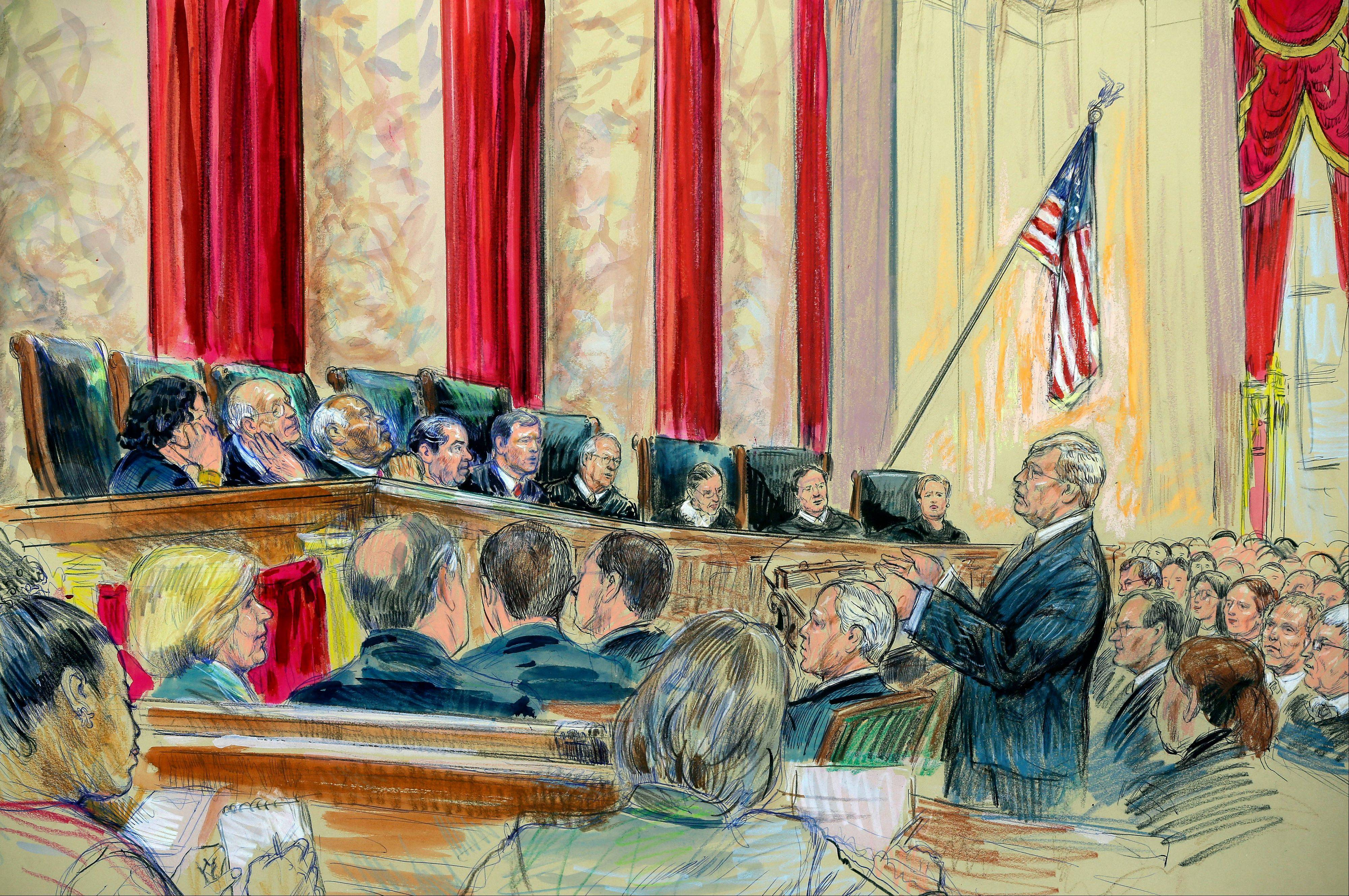 This artist rendering shows Attorney Theodore Olsen, right, representing the same-sex couples, addresses the Supreme Court in Washington, Tuesday.