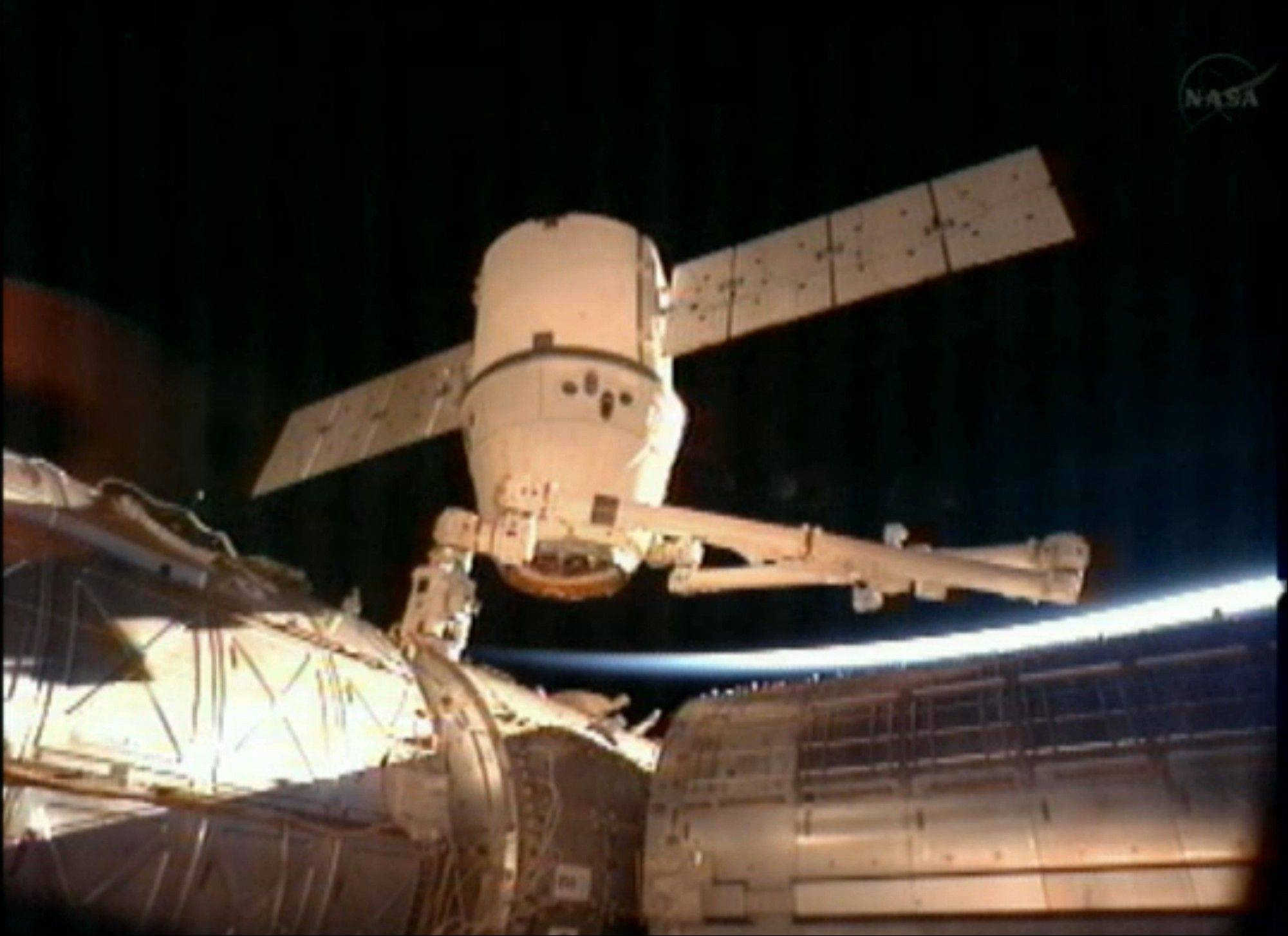 SpaceX Dragon commercial cargo craft after it was detached from the International Space Station early Tuesday.