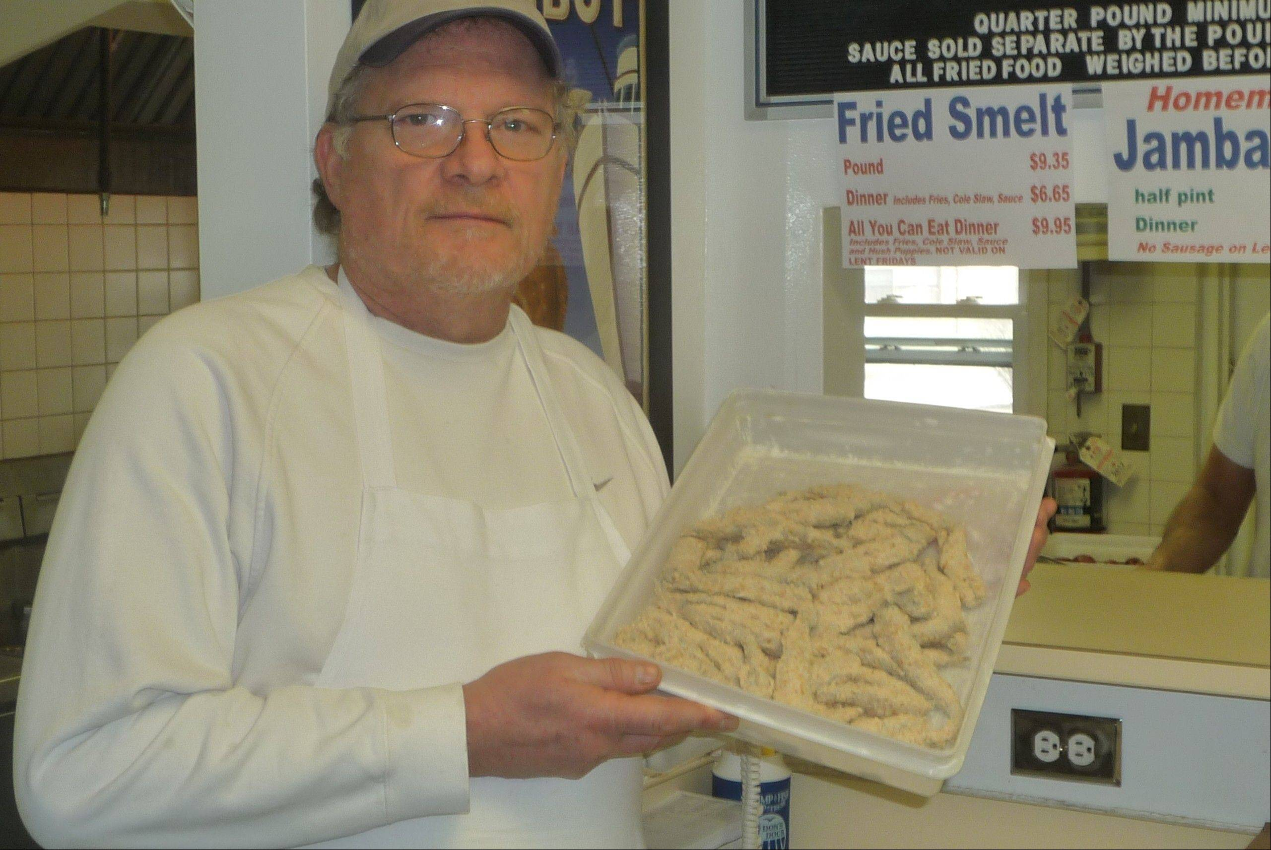 Considered a delicacy by some and a little gross by others, this pan full of smelt will be fried to perfection, promises Andy Johnson, who helps run the family's legendary Don's Dock seafood restaurant and market in Des Plaines.