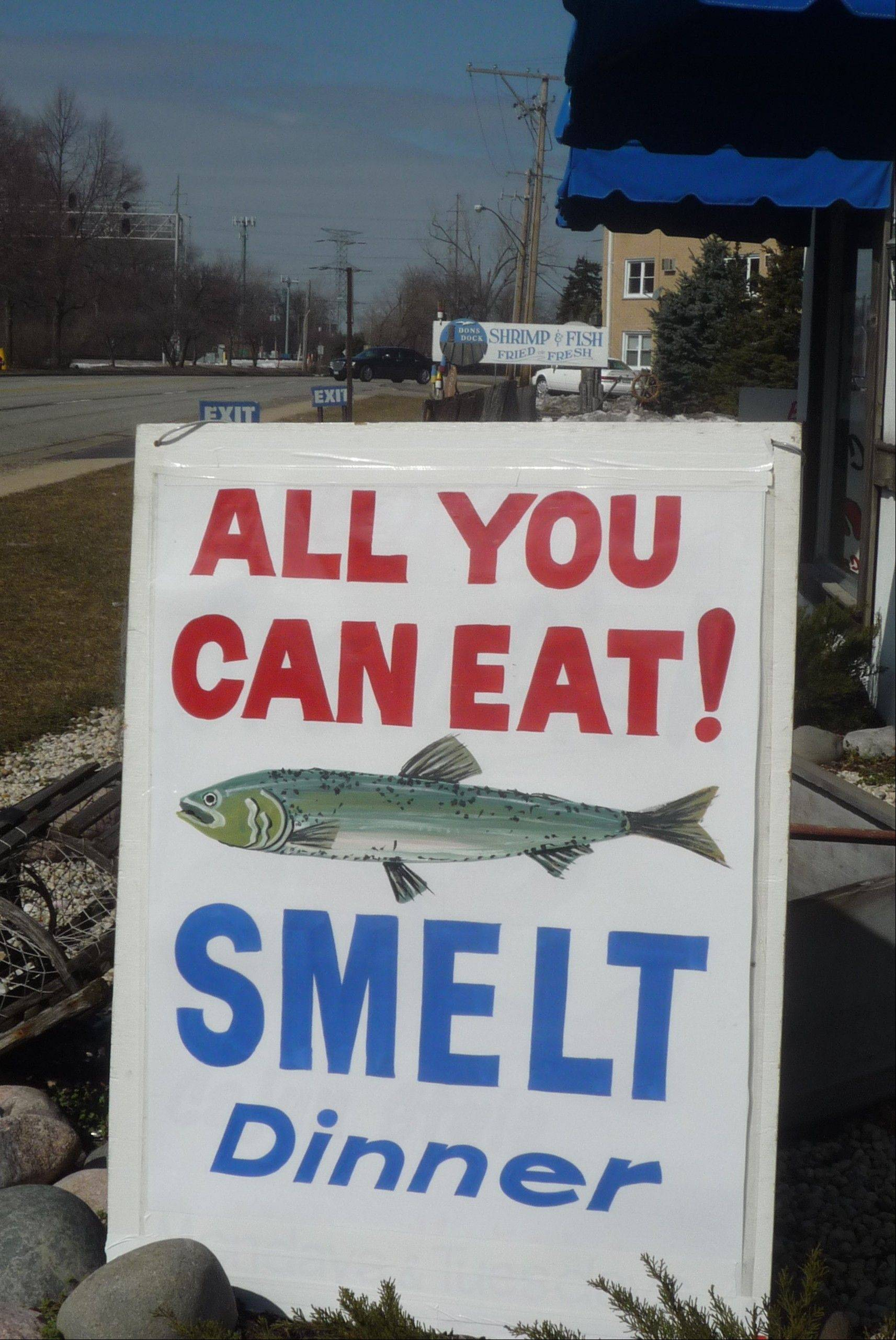 Depending on the customer, all the smelt you can eat might be zero or dozens. The little fish, fried with its scales and bones, turns off some diners but is a popular menu item every spring at Don's Dock seafood restaurant and market in Des Plaines.
