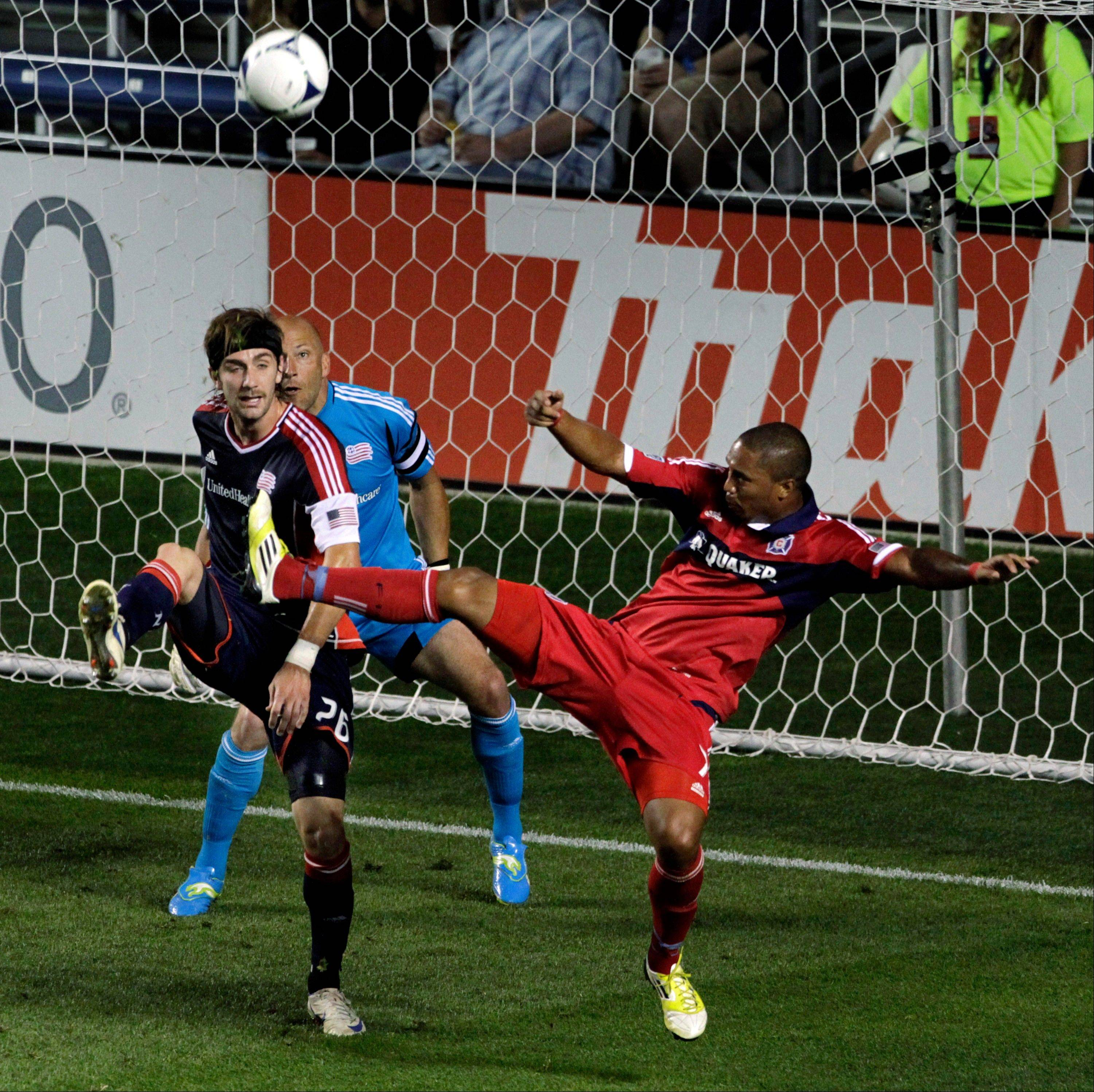 The New England Revolution's Stephen McCarthy stops a shot by the Fire's Sherjill MacDonald last season at Toyota Park.