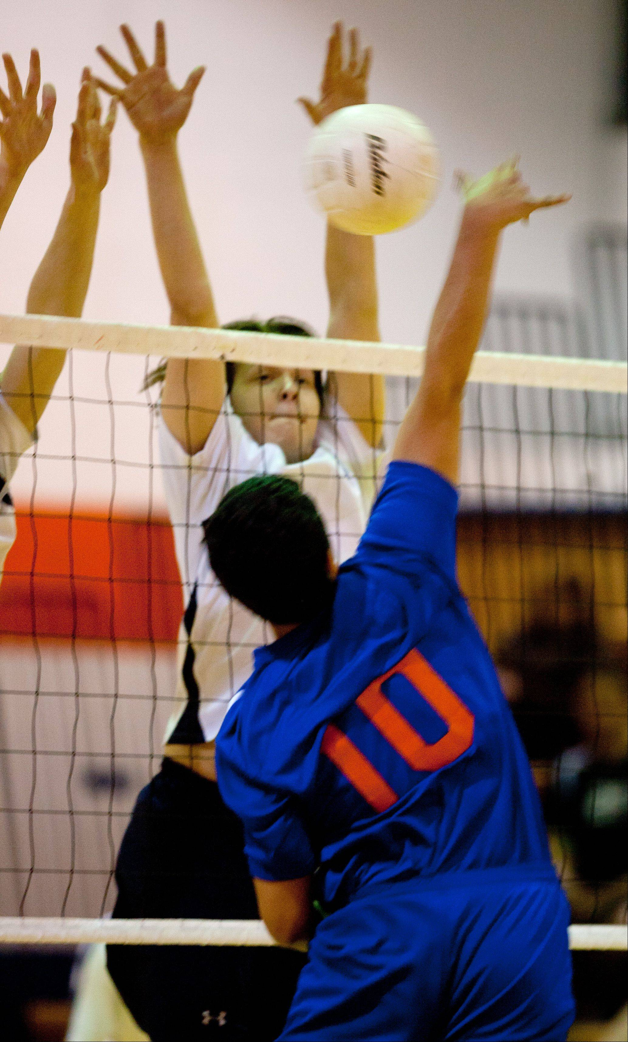 West Chicago's Gus MacPherson tries to block Fenton's Andy Gonzalez during boys volleyball action Tuesday.