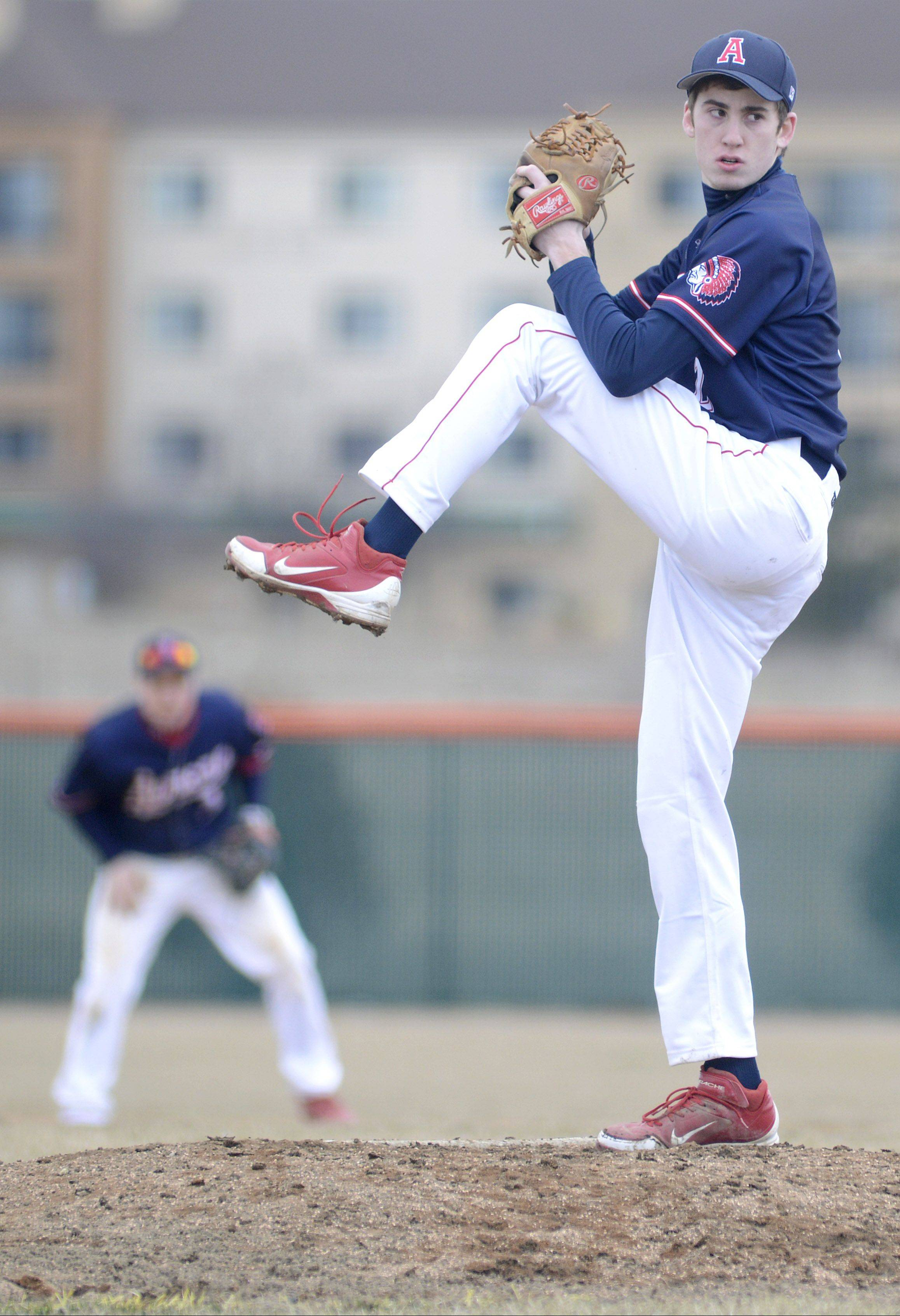 West Aurora's Ottavio Dattolo pitches in game vs. St. Charles East on Tuesday, March 26.