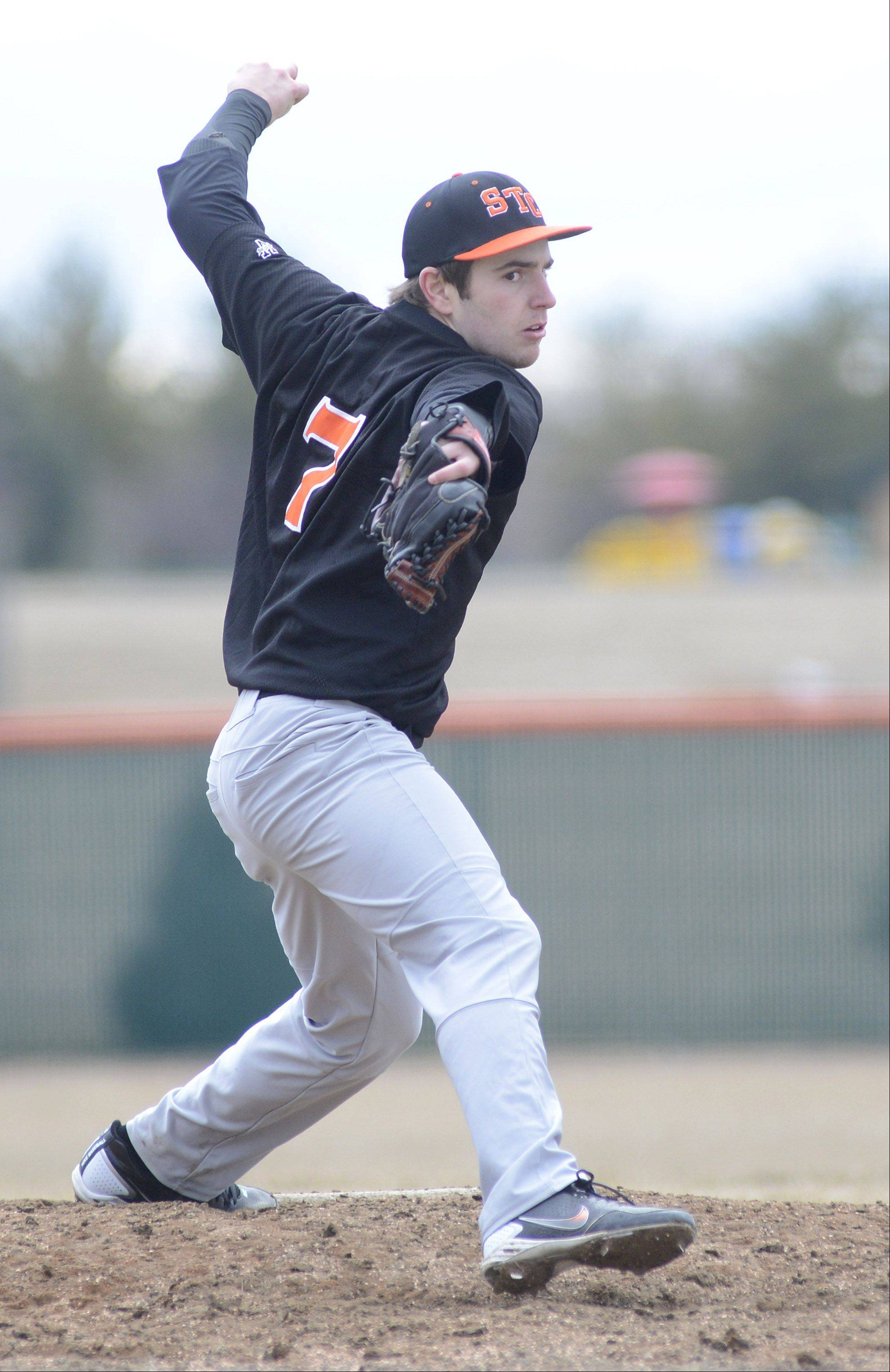 St. Charles East's Nick Huskisson pitches in game vs. West Aurora on Tuesday, March 26.
