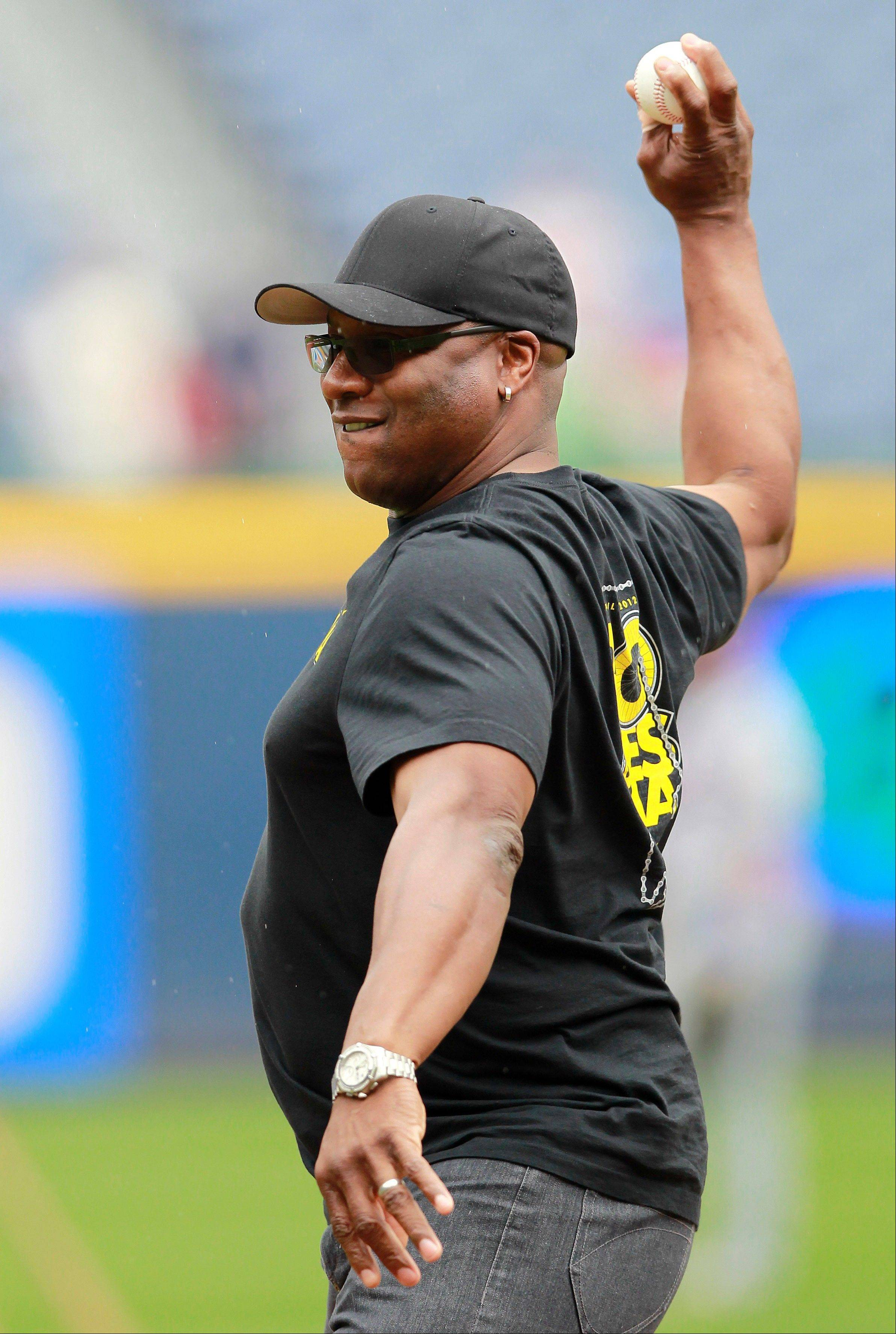 Former baseball and football star Bo Jackson will throw out the ceremonial first pitch at the Opening Day game between the Chicago White Sox and the Kansas City Royals on Monday at U.S. Cellular Field. Jackson played for both clubs in his MLB career.