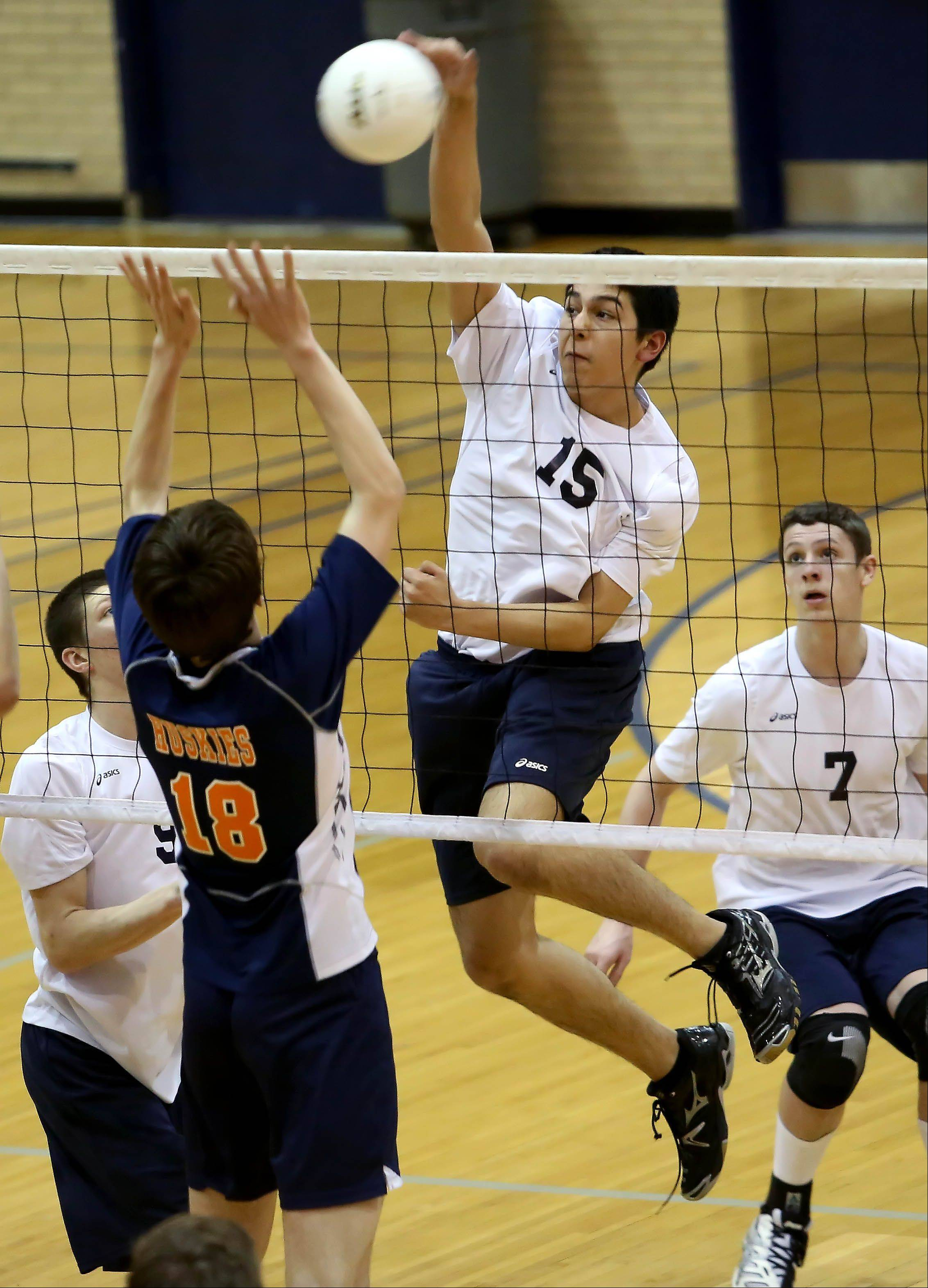 Addison Trail's Frank Gonzalez goes up for the spike against Oak Park River Forest during Monday's volleyball match in Addison.