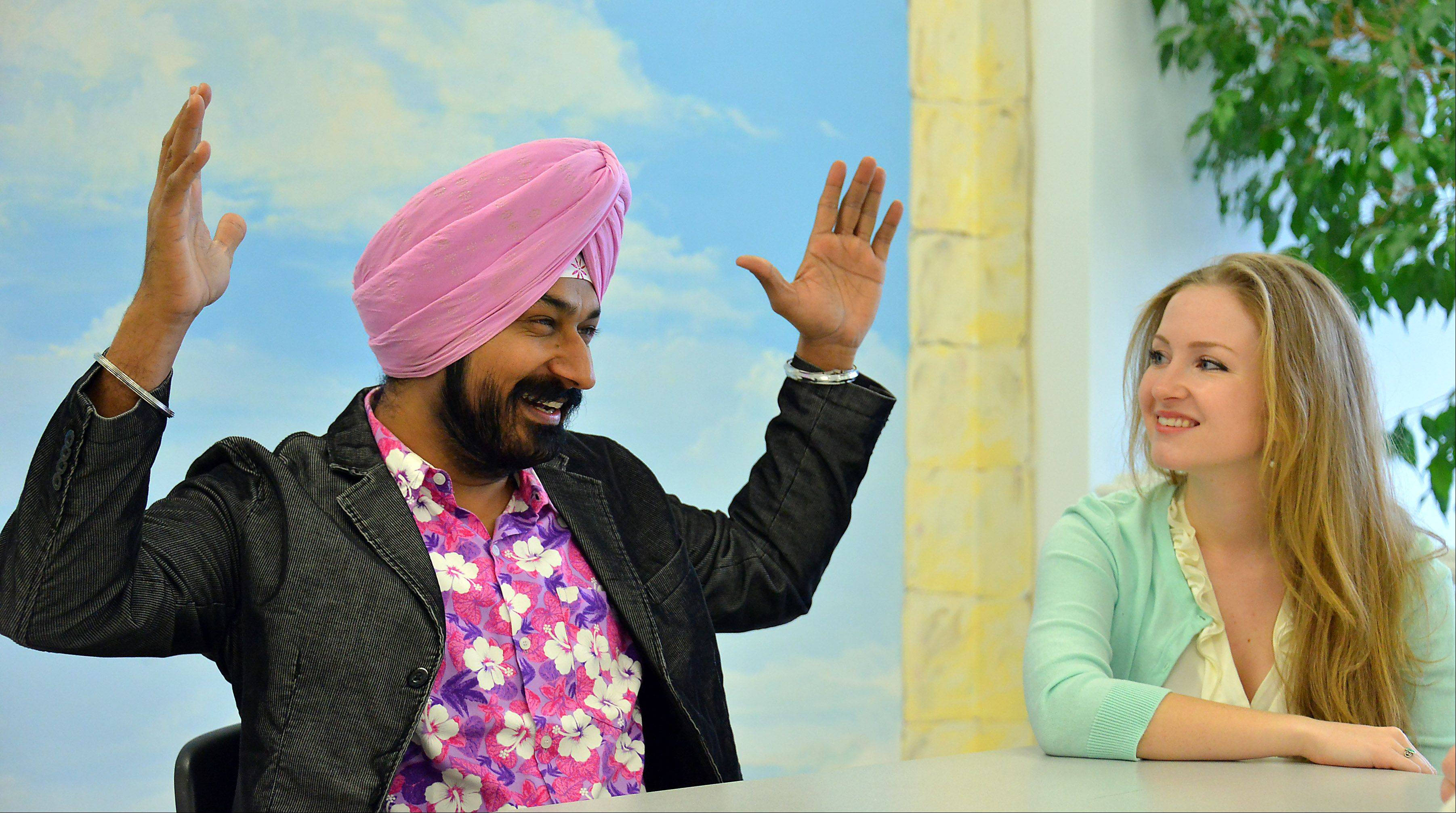 Gurucharan Singh, who starred in a popular Indian sitcom, visits with former co-star Kari Irwin of Palatine.