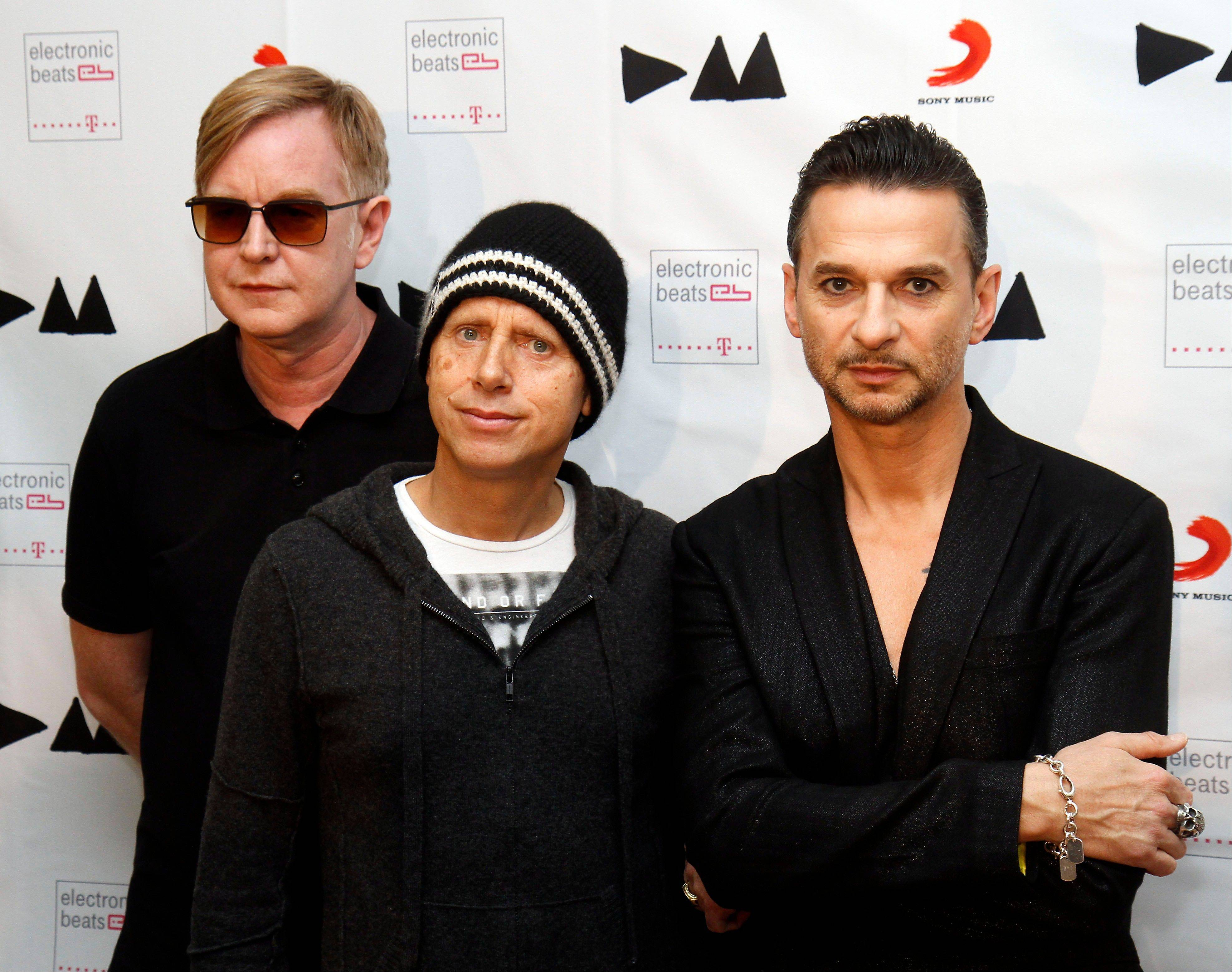 "Andrew Fletcher, left, Martin Gore and Dave Gahan of Depeche Mode are releasing their 13th album ""Delta Machine."""