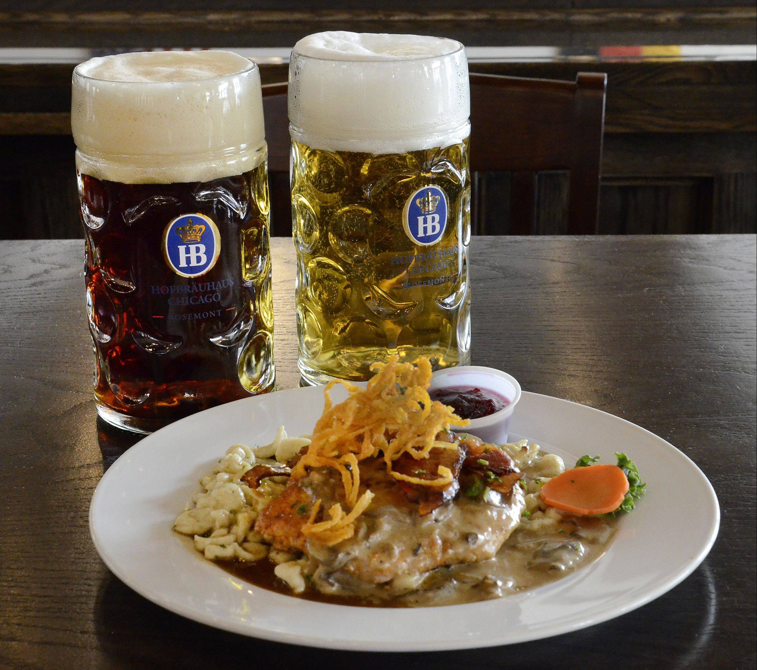 Hofbrauhaus is home to authentic German fare, like jagerschnitzel, pork cutlet topped with mushroom sauce, bacon and onions. It's served with Bavarian potato salad.