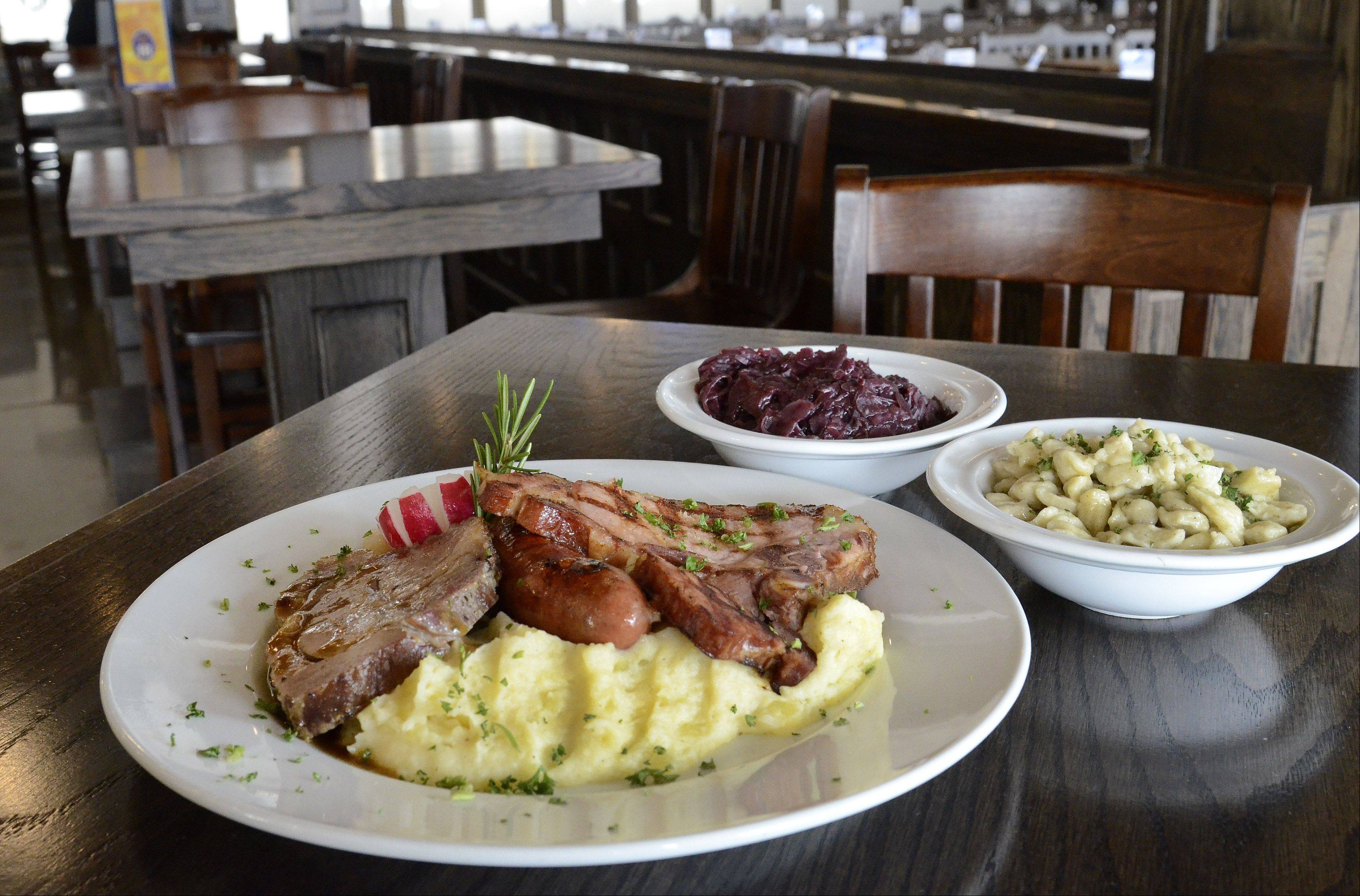 The Hofrauhaus Platter offers diners a taste of specialties like smoked pork loin, pork roast and smoked sausage. Try it with a side of spaetzle and red cabbage.