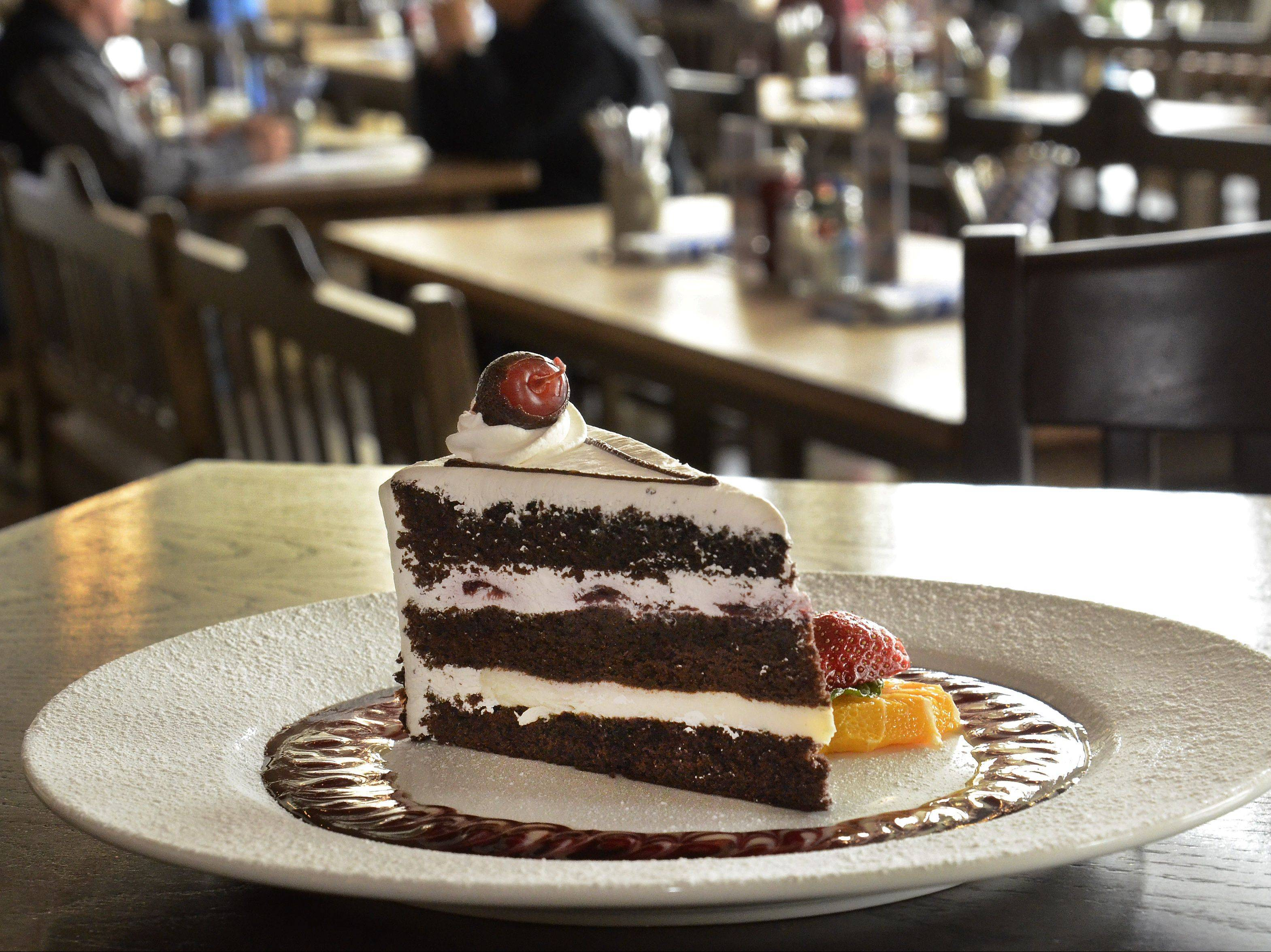 Schwarzwalder Kirschtorte, aka Black Forest cake, is one of a handful of desserts available at Hofbrauhaus in Rosemont.