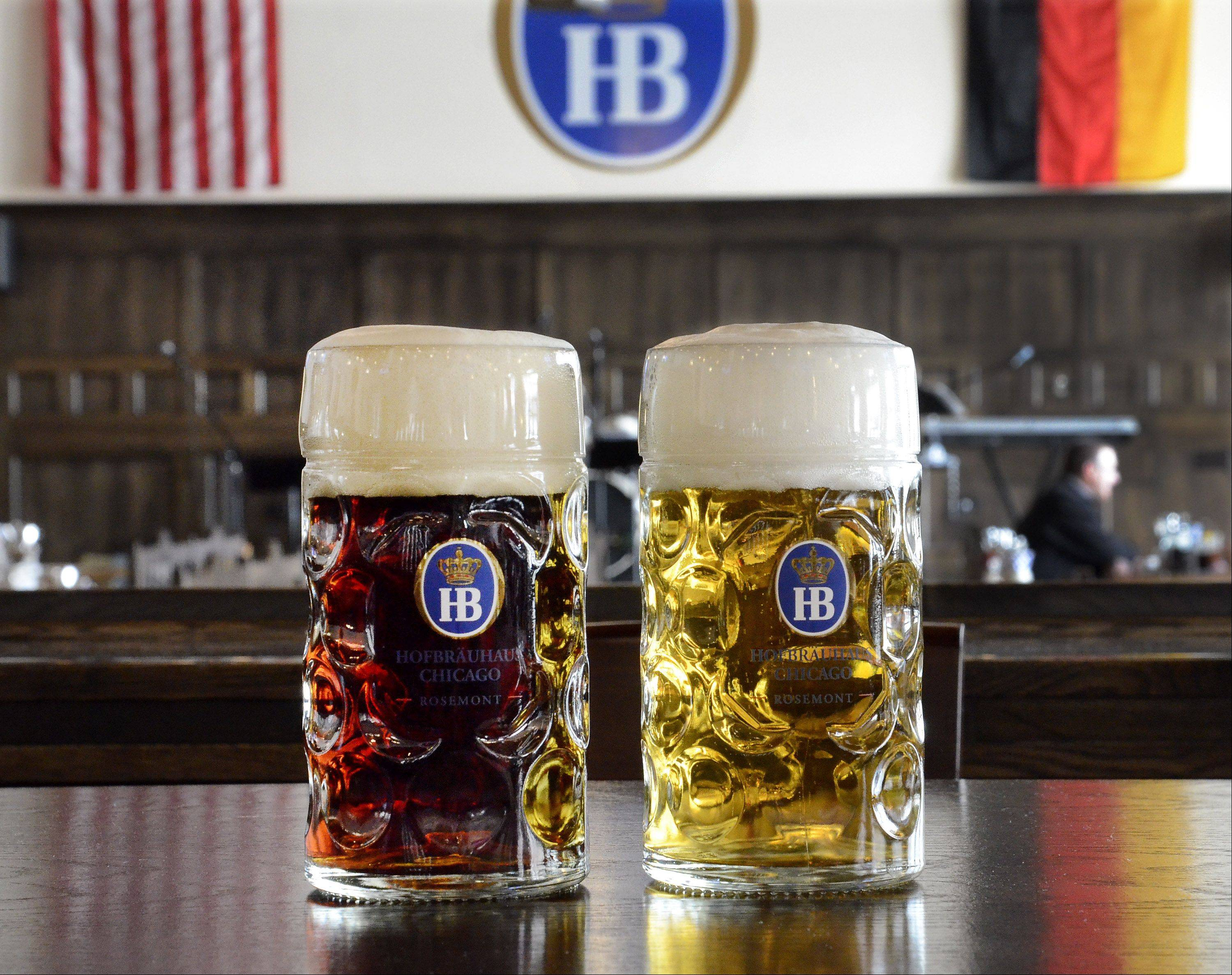 Hofbrauhaus' dunkel, left, and lager are available in 1-liter steins.