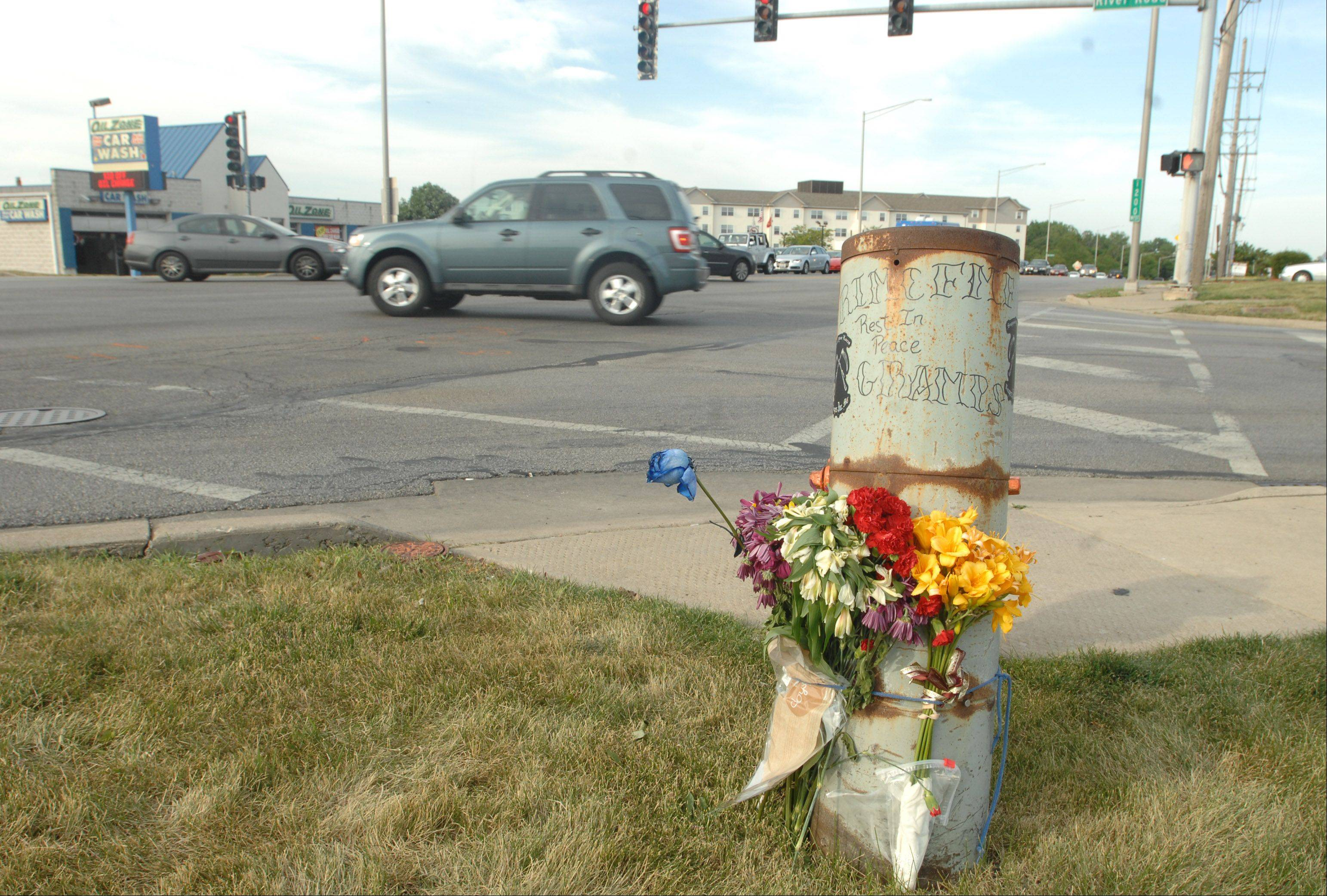 A small memorial was set up at the corner of Ogden Avenue and River Road in Naperville after motorcyclist Gerald Puglise was killed there last June.