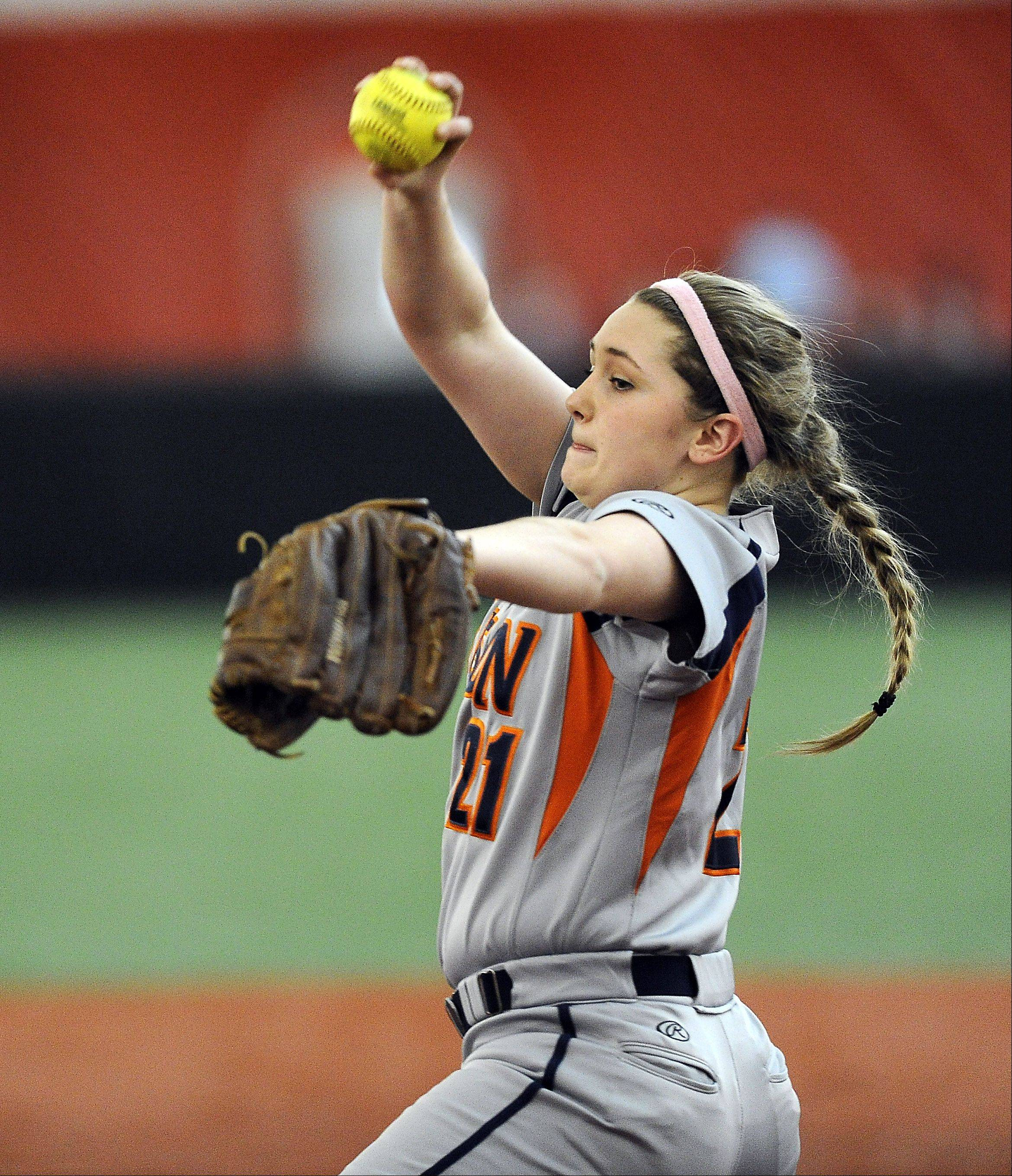Buffalo Grove pitcher Julia Camardo delivers to a Niles West durng the Bison's 9-2 victory at the Dome at the Ballpark in Rosemont on Wednesday.