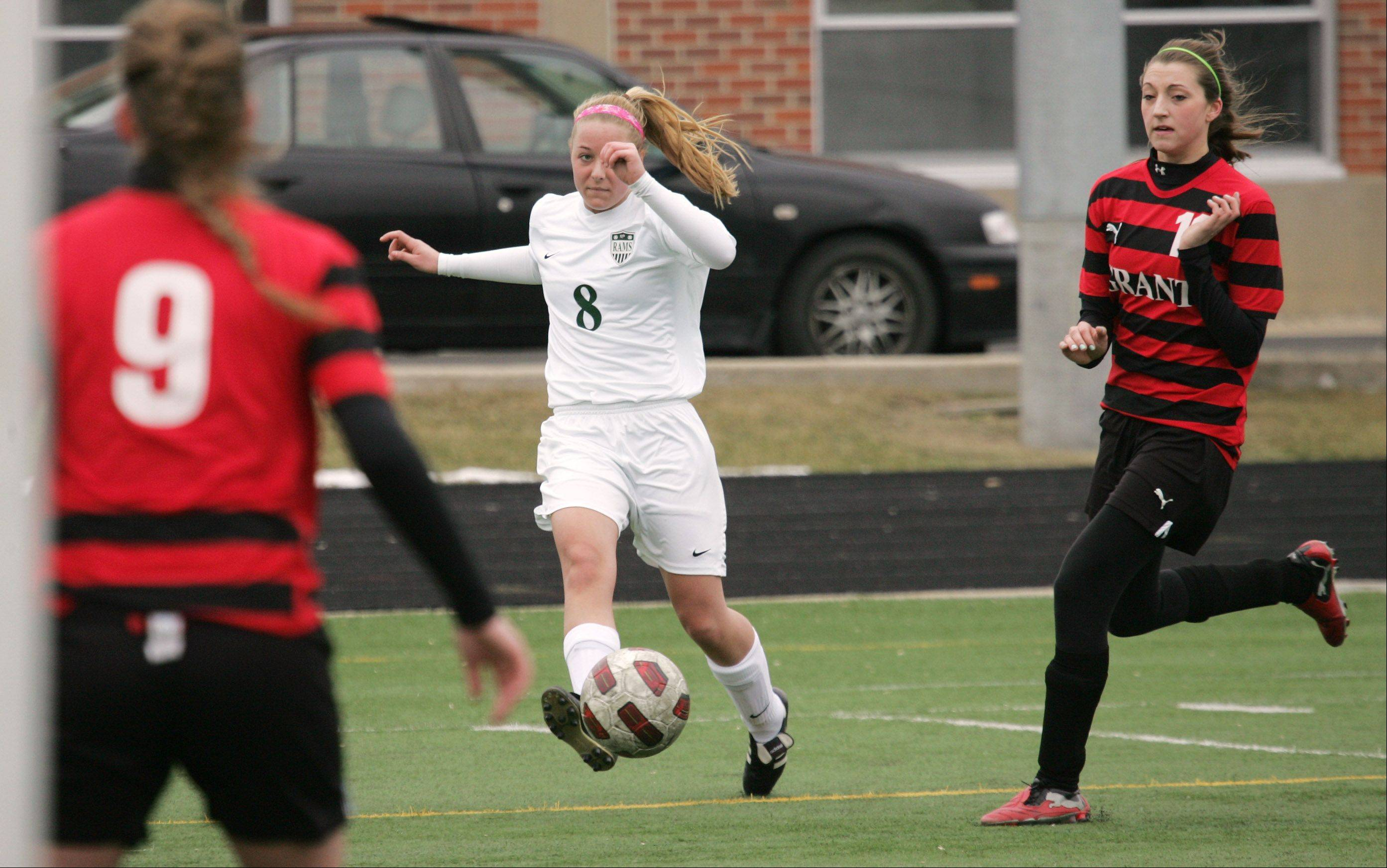Grayslake Central midfielder Jennifer Biondo takes a shot on goal in the second half against Grant on Wednesday at Grayslake Central.