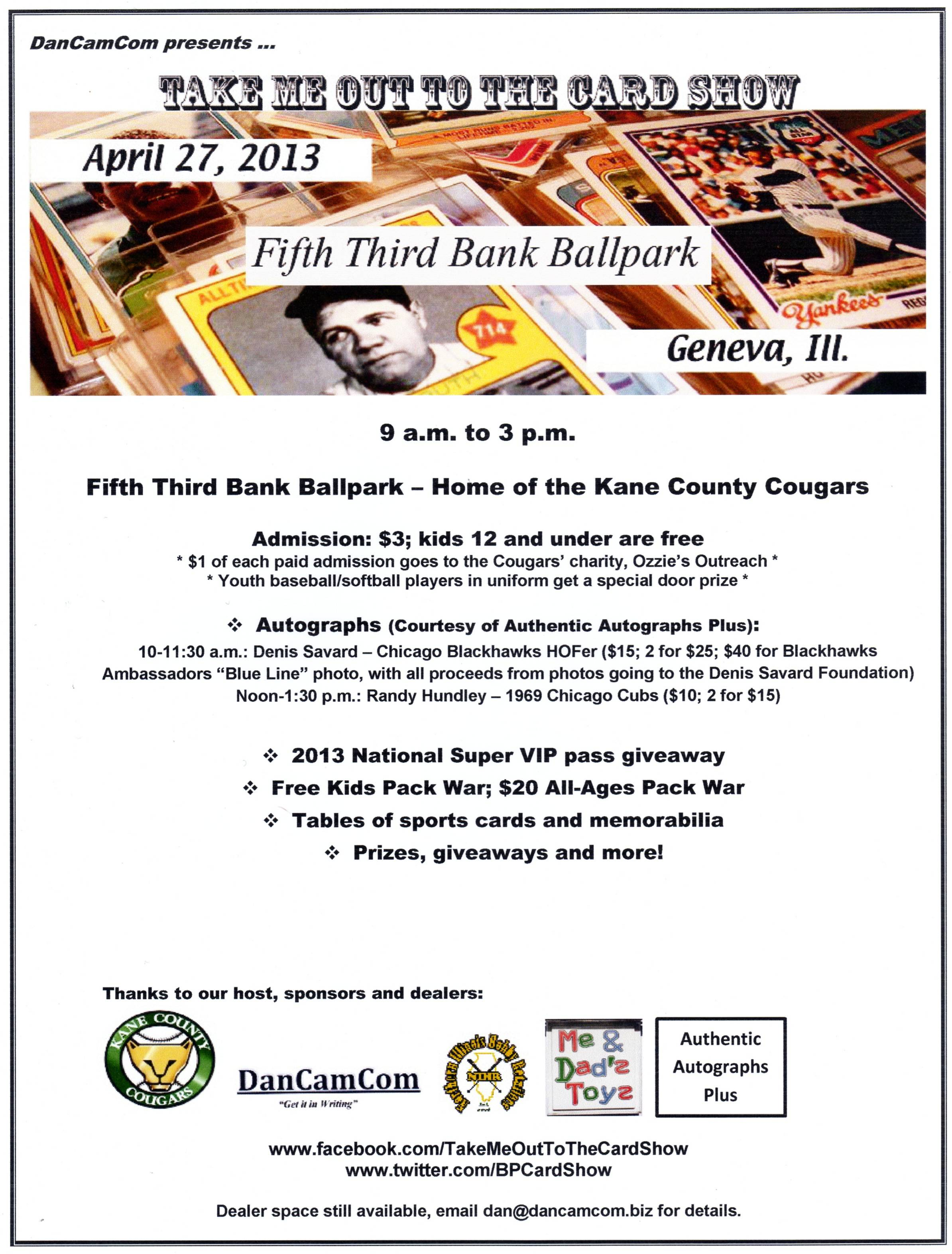 Take Me Out To The Card Show takes place April 27 at the home of the Kane County Cougars, Fifth Third Bank Ballpark in Geneva.