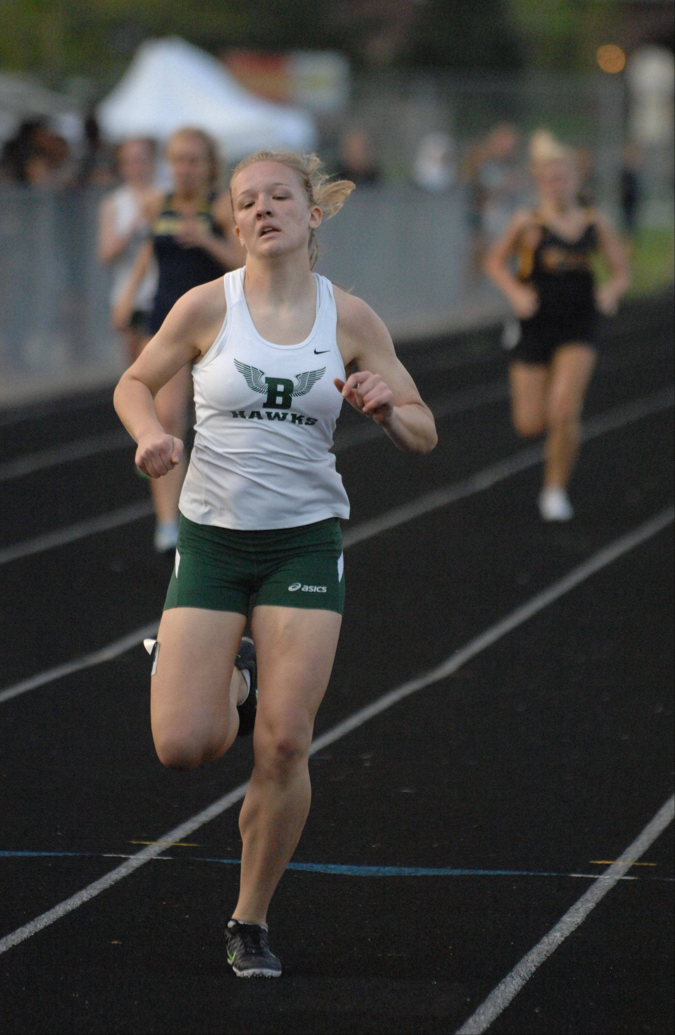Bartlett senior Megan Seidl competes in the 400 dash during the Upstate Eight Conference track meet last year.