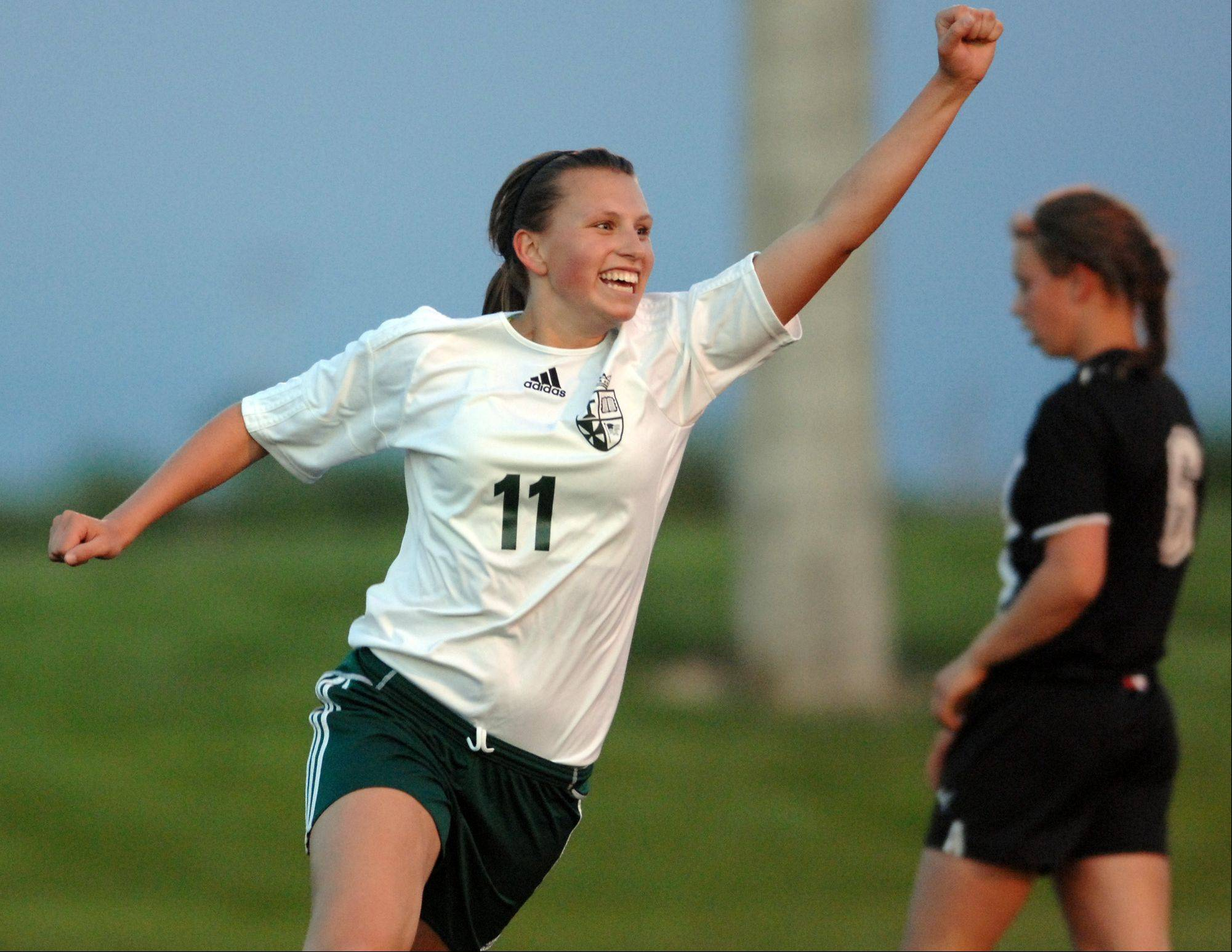 St. Edward�s Allison Kruk celebrates the first of two first-half goals against Stillman Valley last season in a Class 1A sectional semifinal game in Harvard. Kruk set a program record for goals in a season with 19 last season.