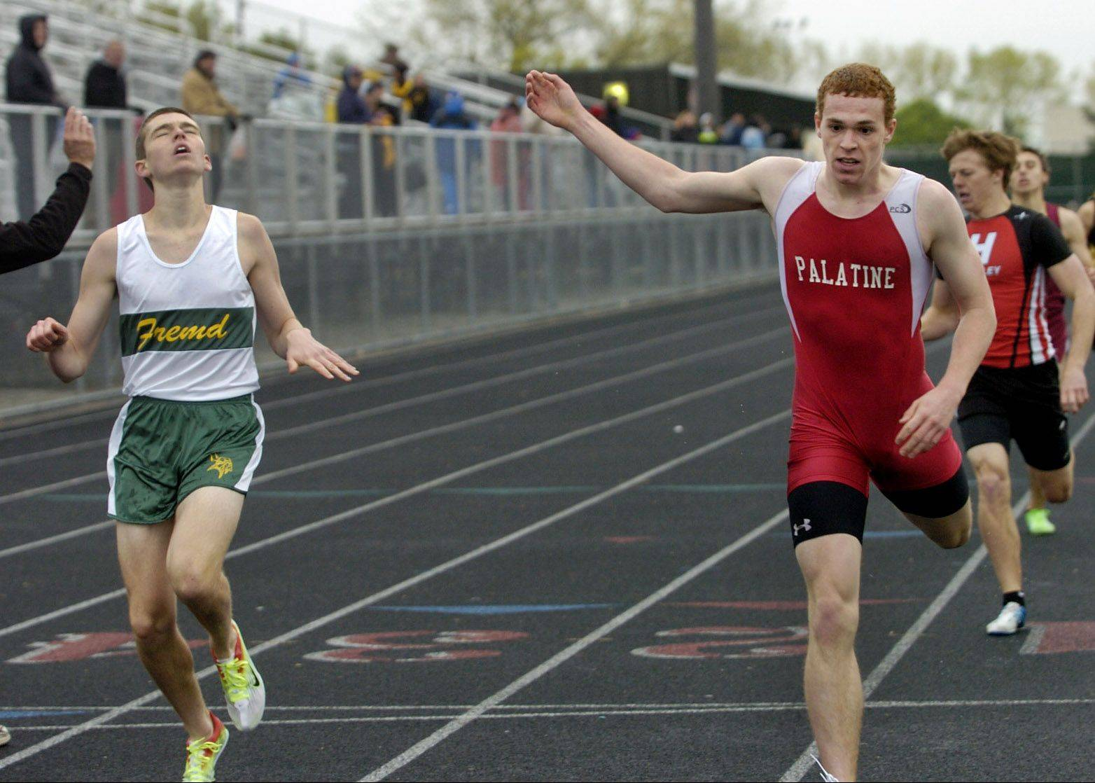 Andrew Clingerman of Palatine, right, edges out Fremd's Nick Vucovich in the 800-meter run at the Palatine Relays last spring. Both figure to play key roles for their teams, both of which embrace the upcoming dual meet between the programs.