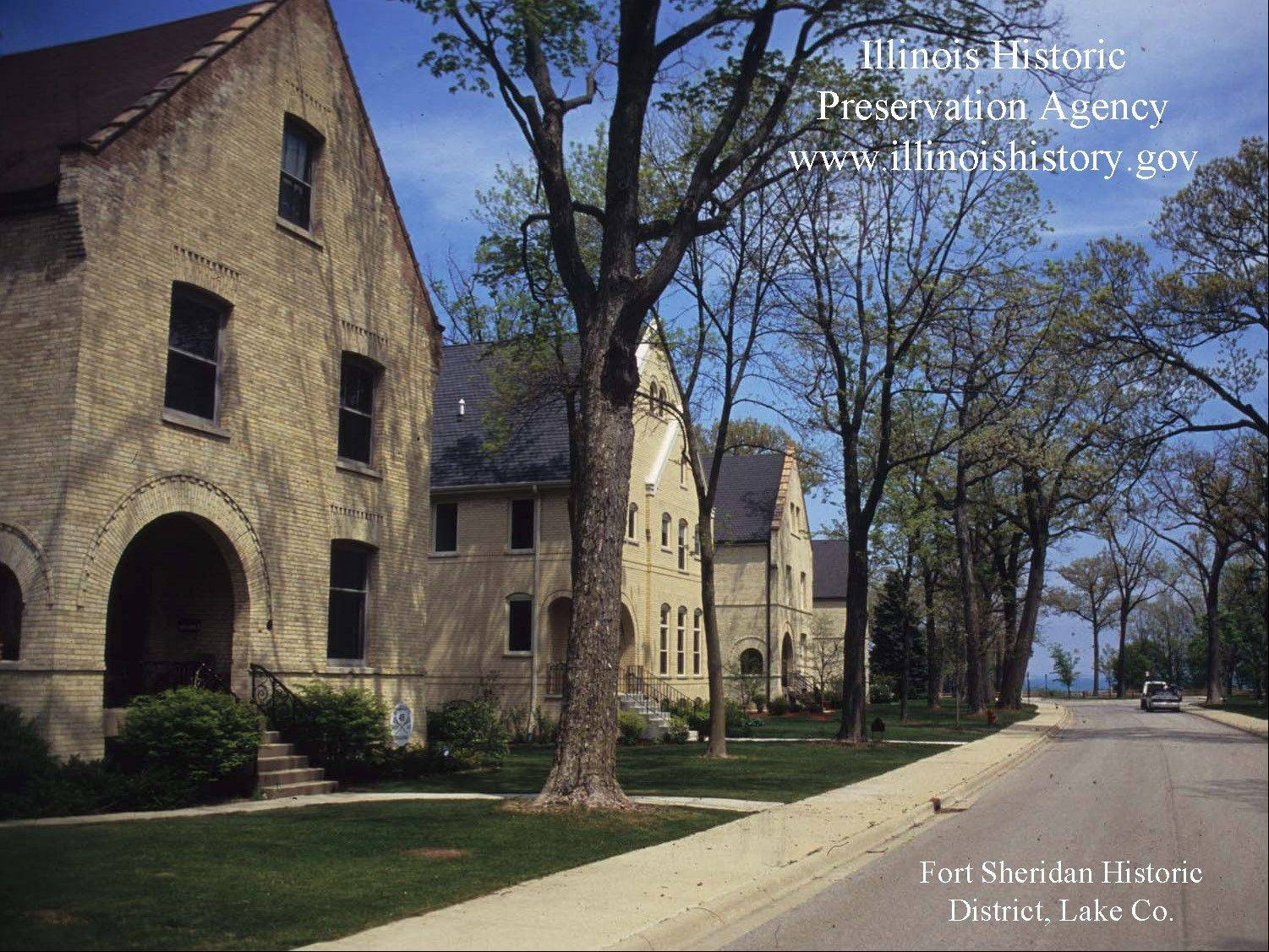 Fort Dearborn in Highland Park is among the architectural images available in the new screensaver launched by the Illinois Historic Preservation Agency.