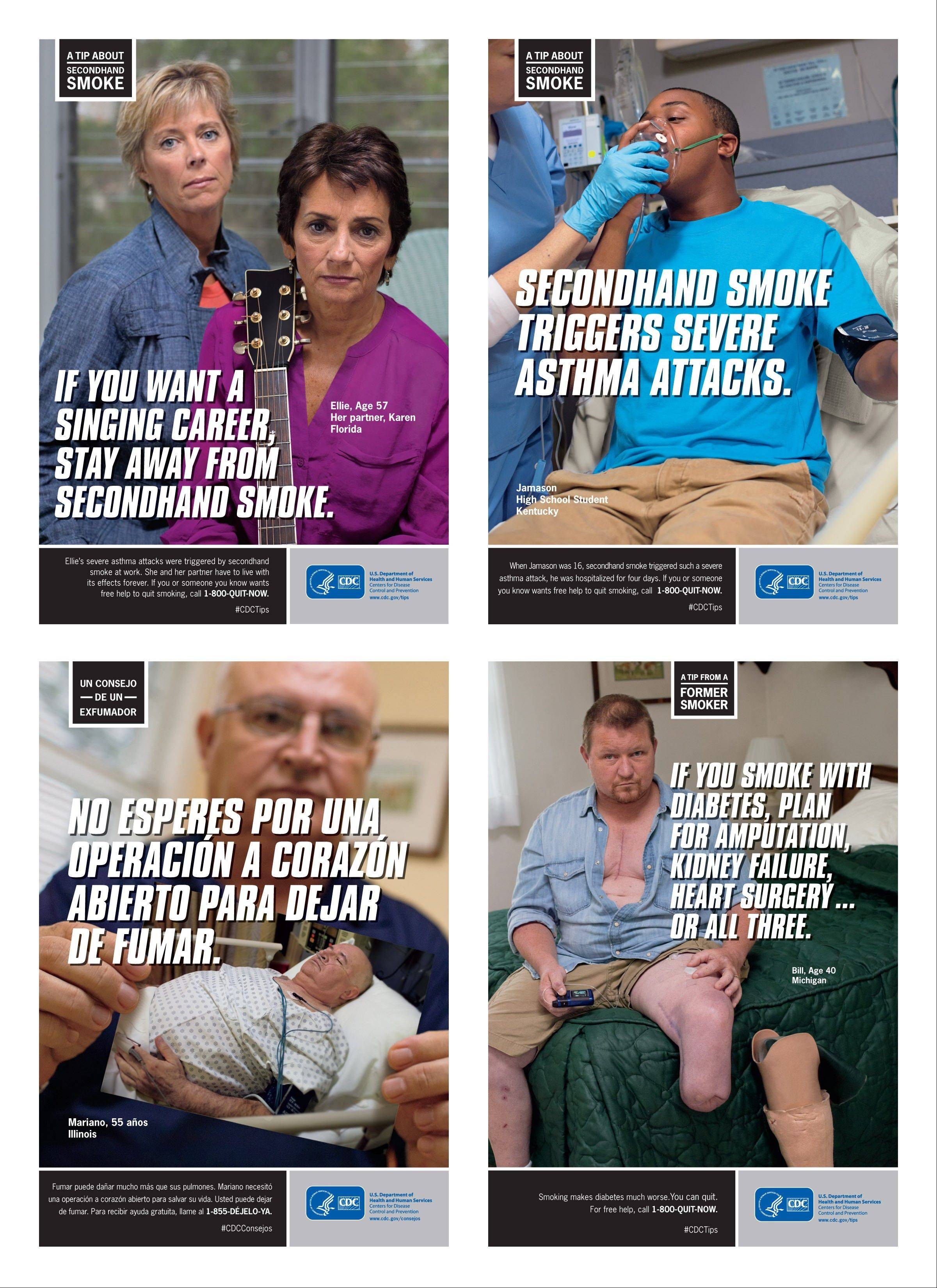 This combination of images provided by the Centers for Disease Control and Prevention shows posters from their anti-smoking advertising campaign, launched Thursday.