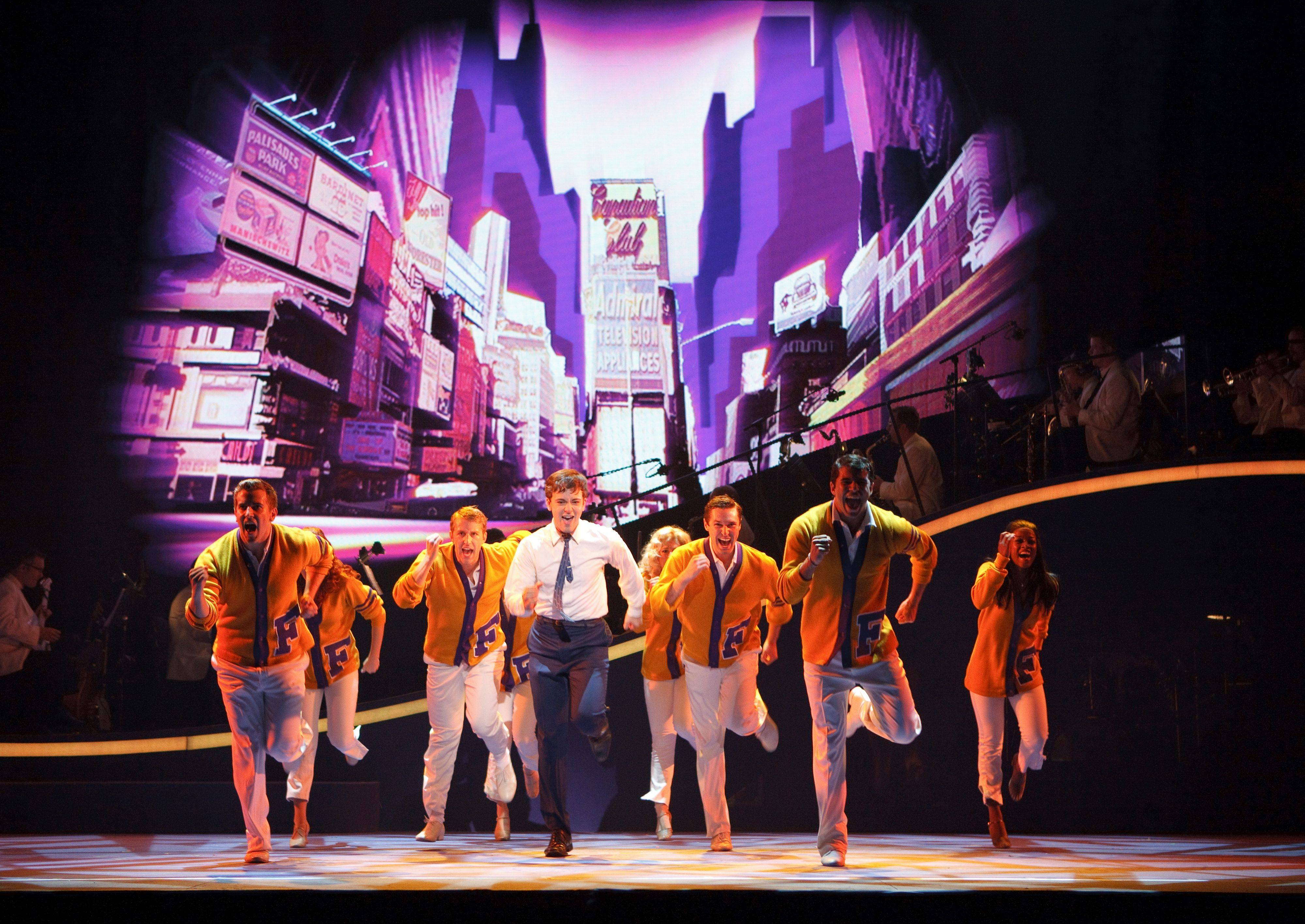 "Trevor Leaderbrand, second male from left, is understudy to Ben Laxton, who is an understudy to leading man Stephen Anthony, center, in the national tour of the 2011 Broadway musical ""Catch Me If You Can."""
