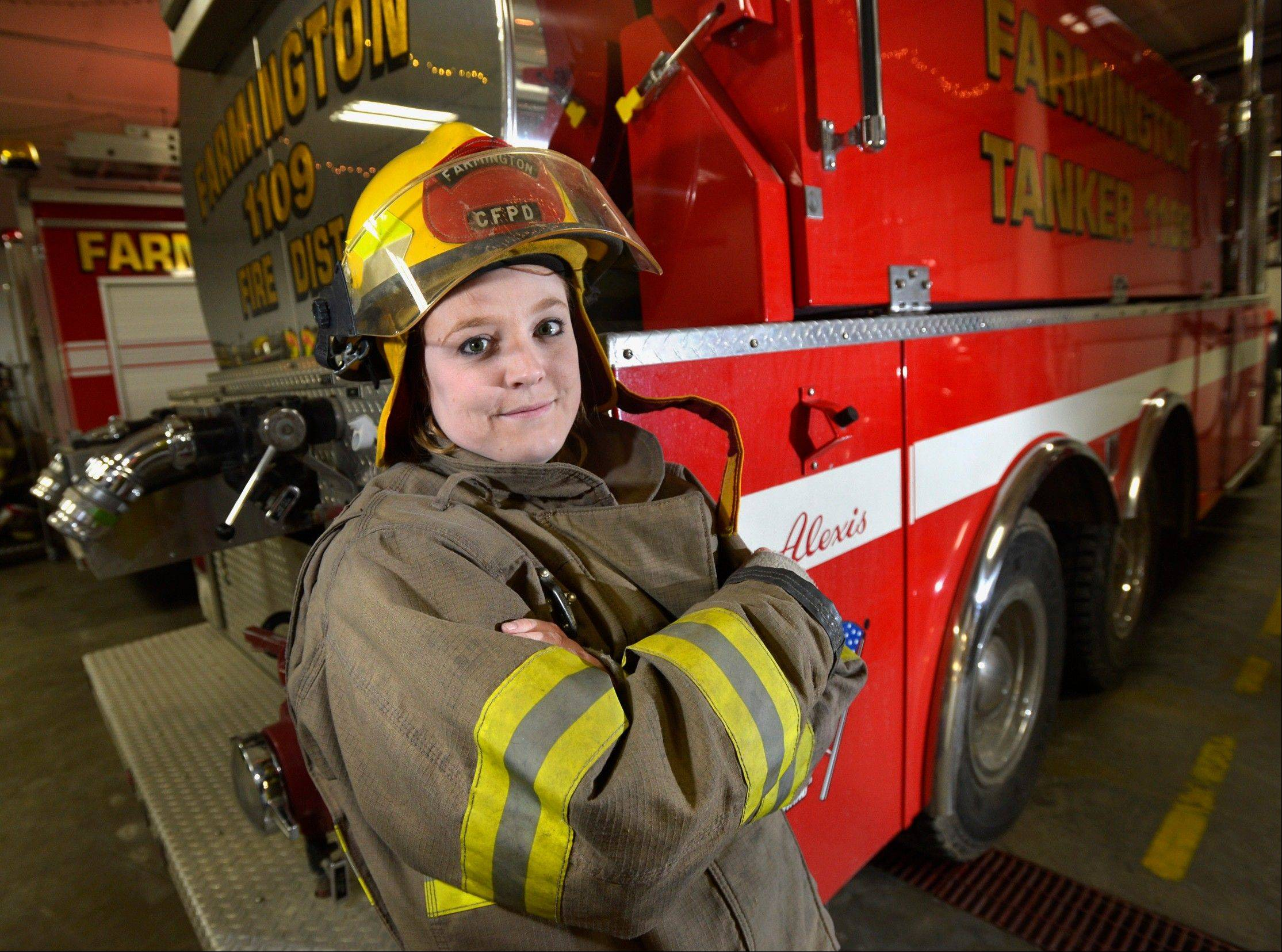 Makensie Balagna, the first female firefighter with the Farmington Fire Department in Farmington, Ill.