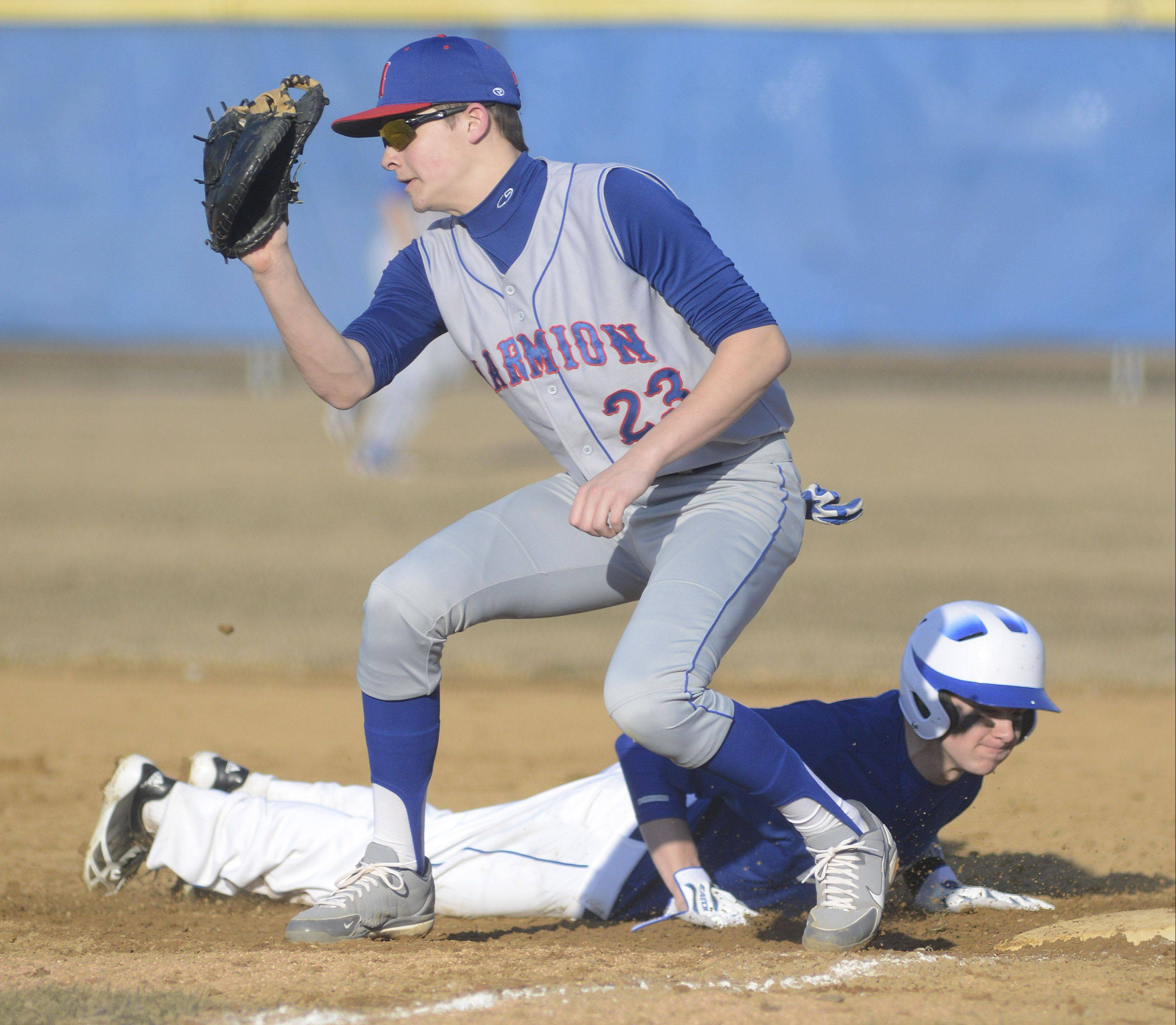 Geneva's Nick Derr dives back to first base before Marmion's Alex Troop can tag him, above, while the Vikings' Tony Landi fires a pitch, below.