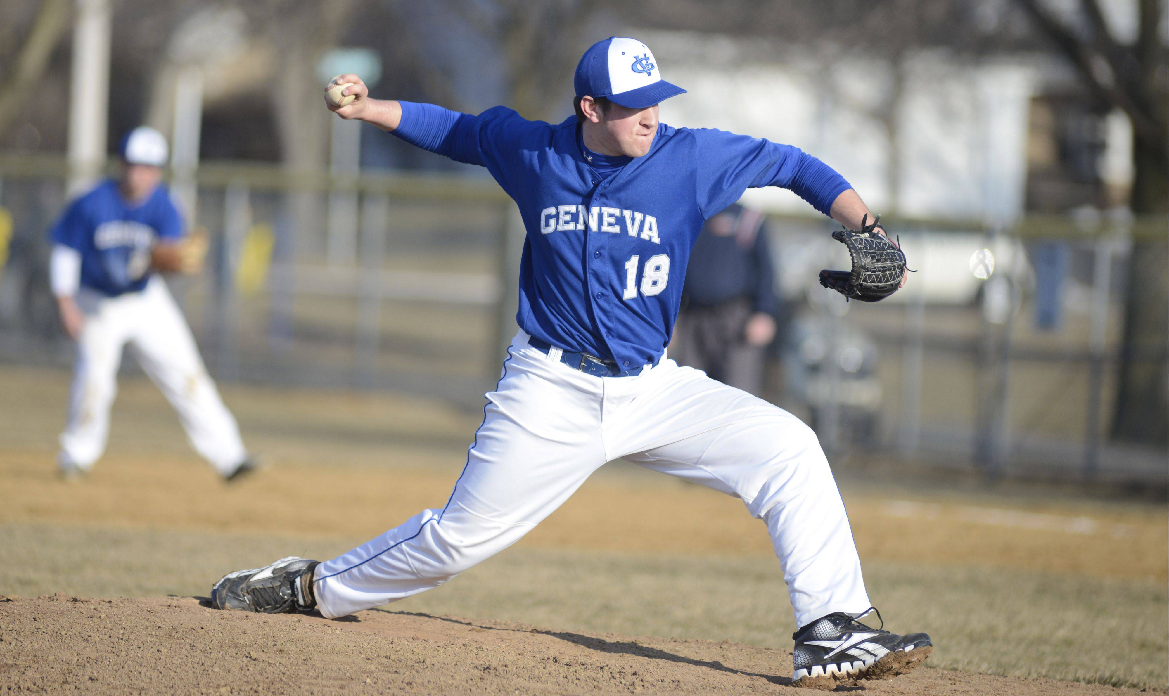 Geneva's Tony Landi pitches to Marmion Academy on Thursday, March 28.