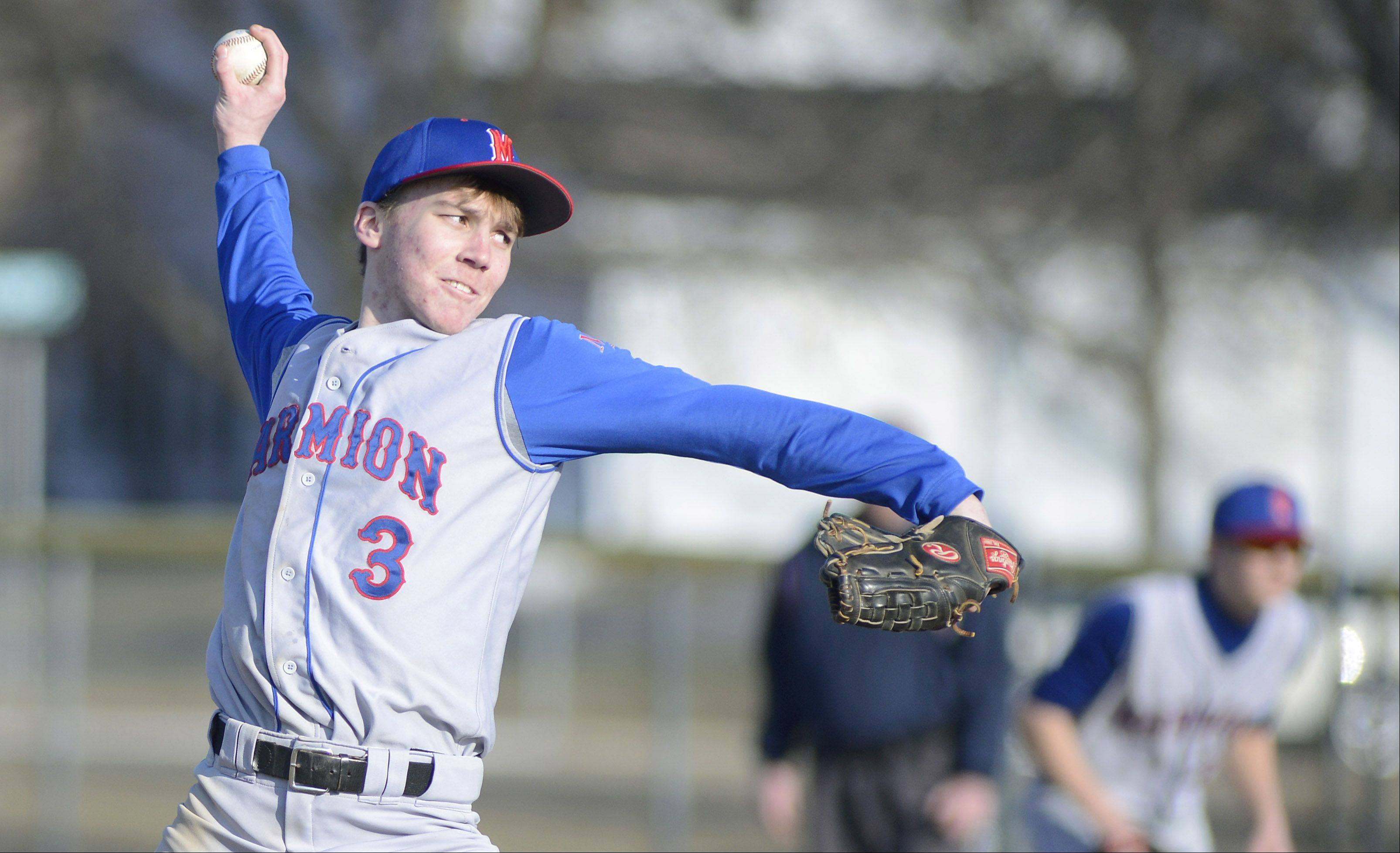 Marmion's AJ Bohr pitches in the fourth inning on Thursday, March 28.