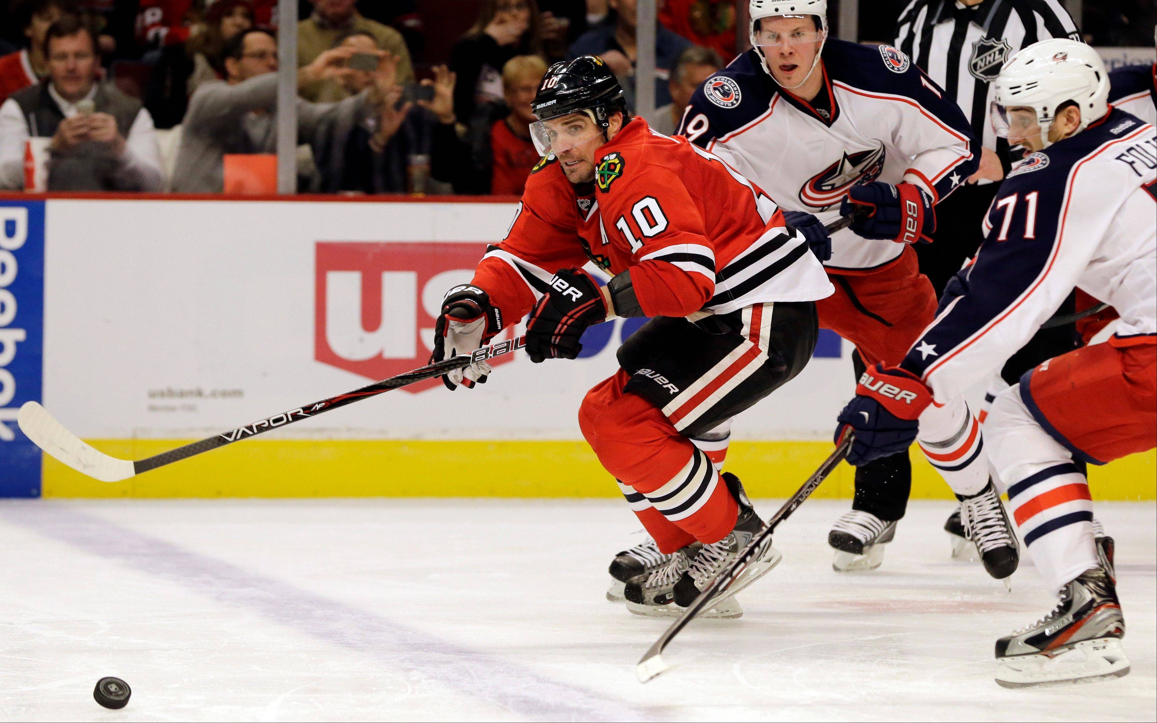 The Blackhawks' Patrick Sharp, out since March 6 with a shoulder injury, returned to practice Thursday.