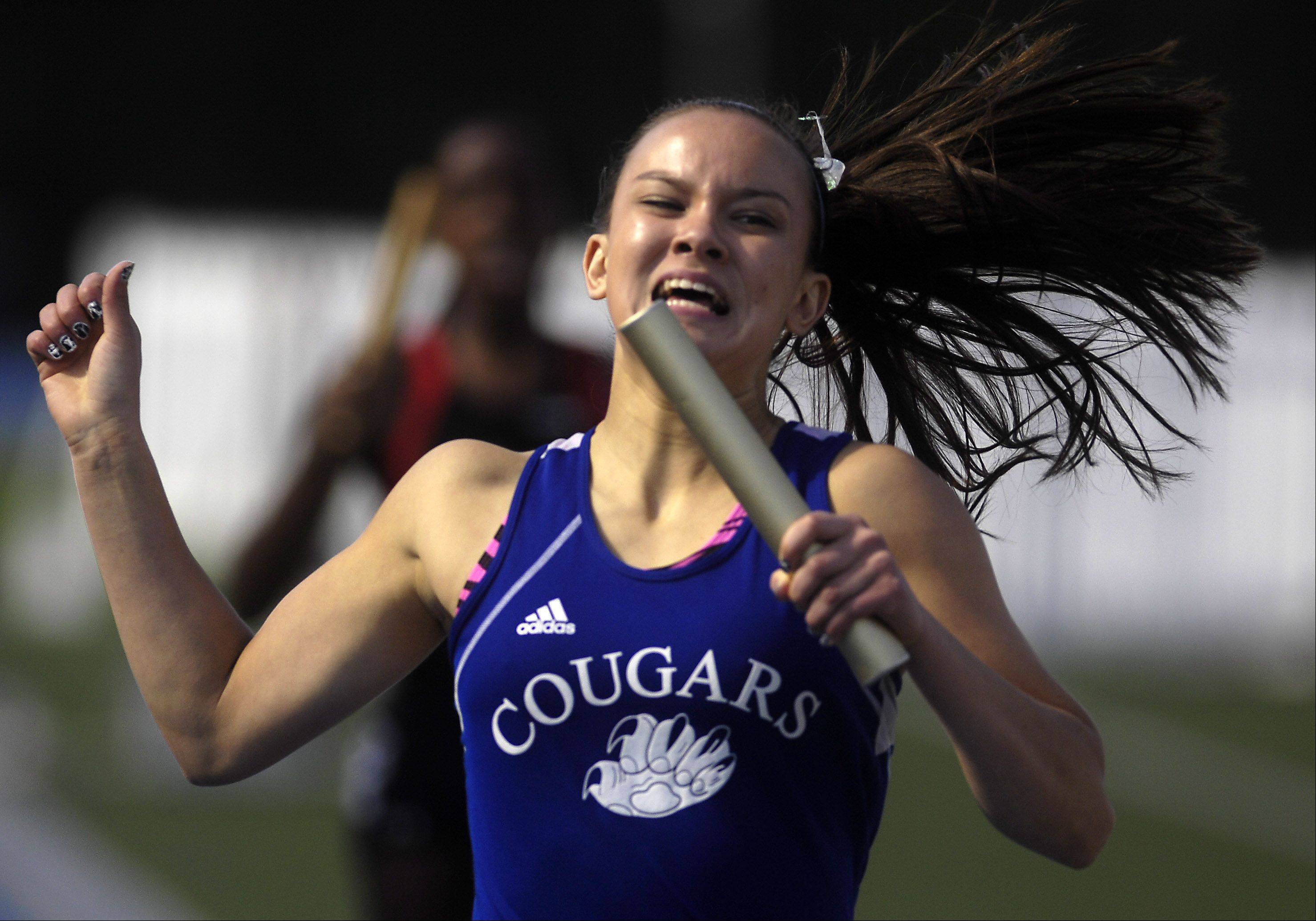 Vernon Hills' Alli Tran anchors the Cougars to a third-place finish in the 4x400-meter relay during last season's state finals.