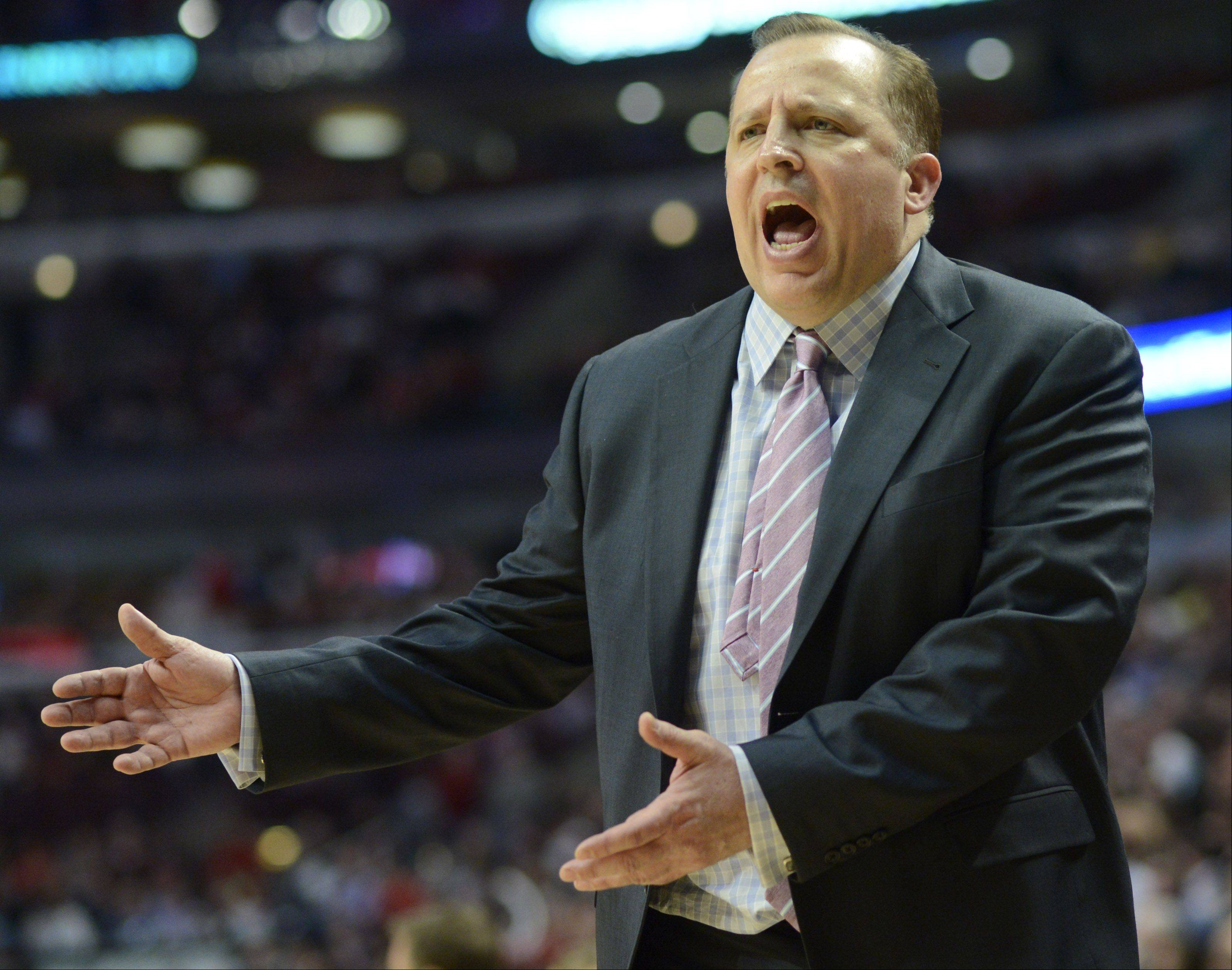 Bulls coach Tom Thibodeau reacts to an official's call during Wednesday's victory over the Miami heat.