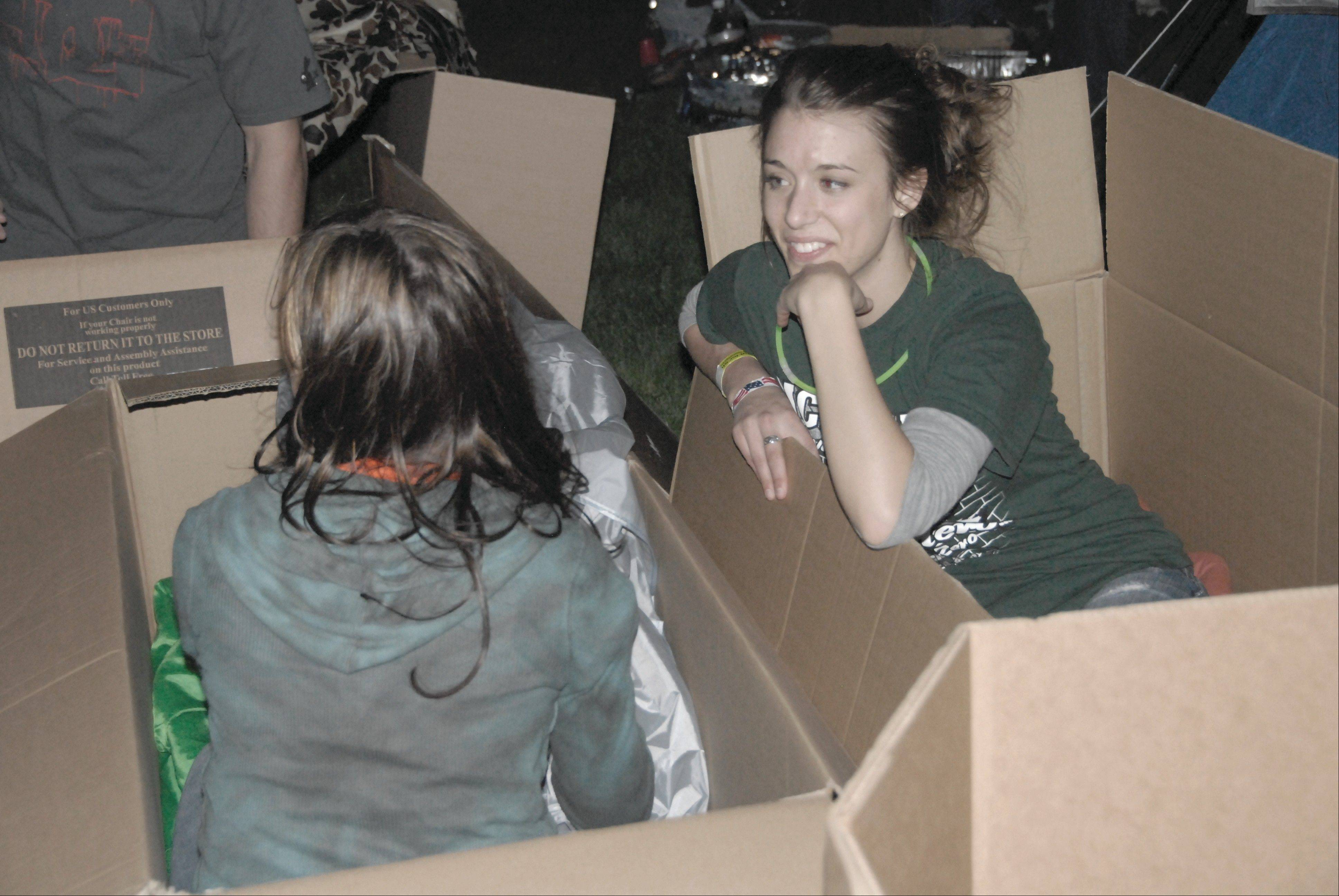 Participants take part in activities at a McHenry County PADS SleepOut for Shelter event. This year, PADS Lake County is partnering up with McHenry County PADS and holding its first SleepOut at Carmel High School May 11, the same day as this year�s McHenry event.