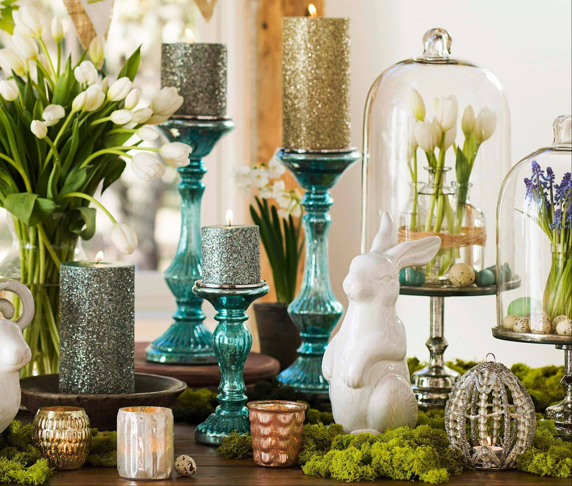 Blue Mercury glass from Pottery Barn brings in one of the iconic pastel hues of the Easter season in a fresh new way.