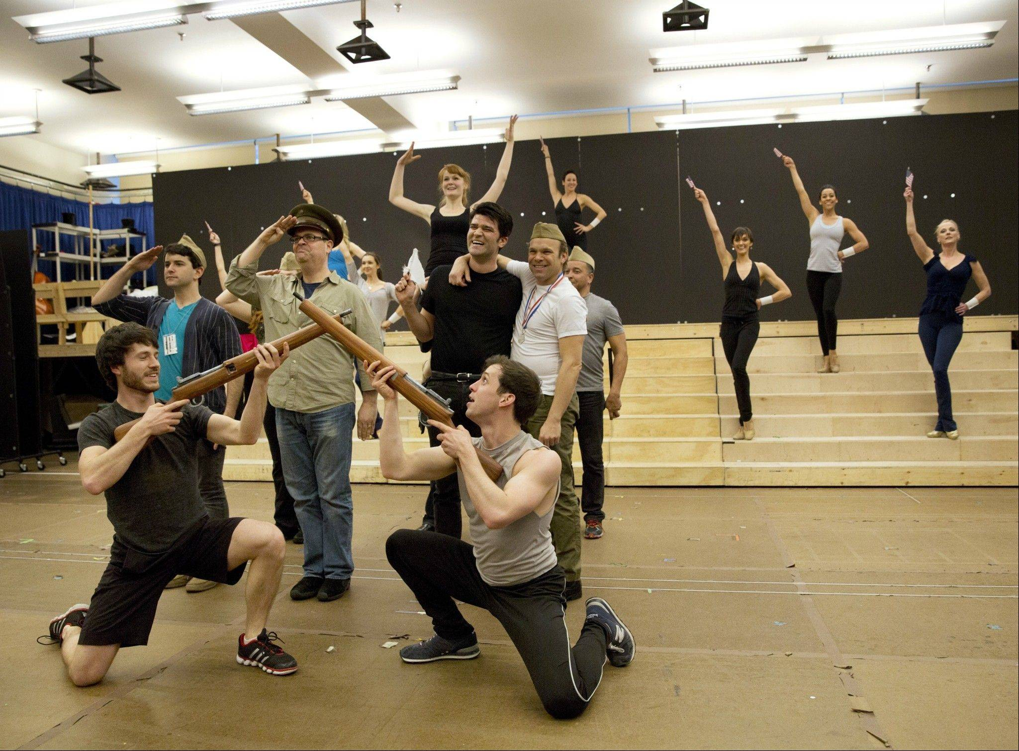 "Cast members rehearse for the world premiere musical ""Big Fish,"" which plays a tryout run at Chicago's Oriental Theatre starting Tuesday, April 2, before moving on to Broadway in the fall."