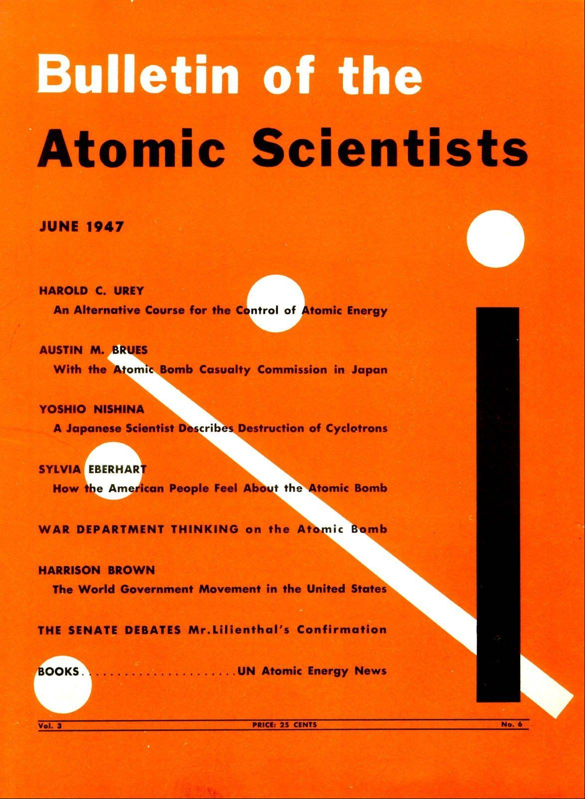 The cover of the June 1947 Bulletin of the Atomic Scientists designed by Martyl Langsdorf features the first visual depiction of the Doomsday Clock.