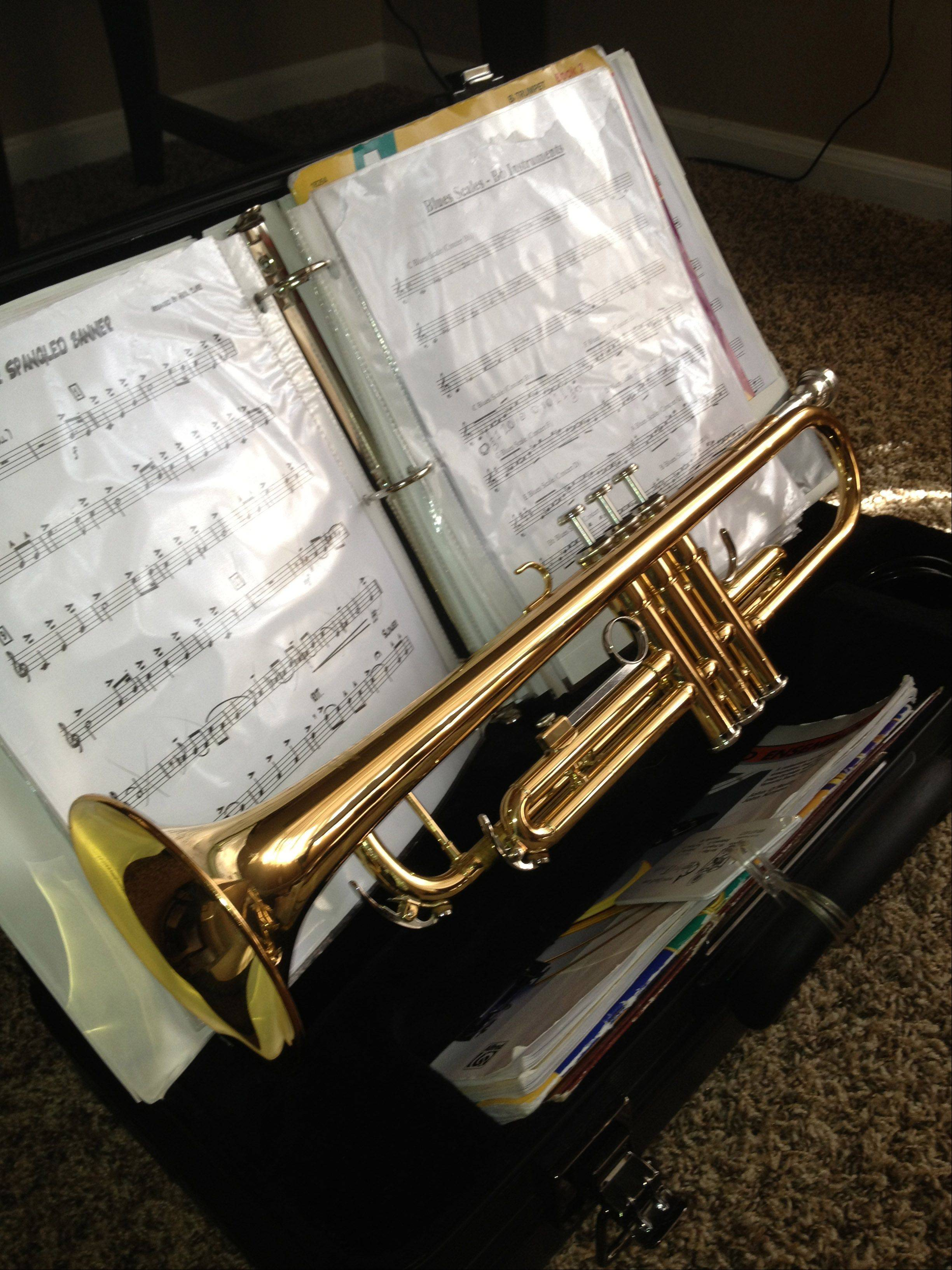 A trumpet rests on a stand after a recent lesson.