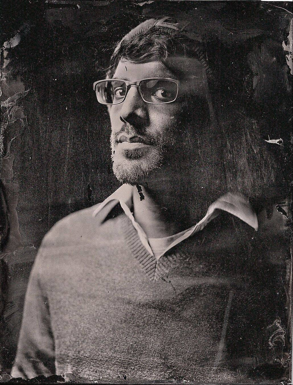 This photo of Vivek Jena of Naperville was taken at a wet plate workshop in Chicago. The photograph was taken with a 4x5 Cambo rail camera.