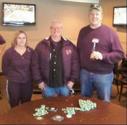 The top winners of the Barrington Lions Club Texas Hold'em Tournament, from left, are: Second-place winner Susan Billmann, first-place winner Brian Chwaszczewski and third-place winner James Beer.