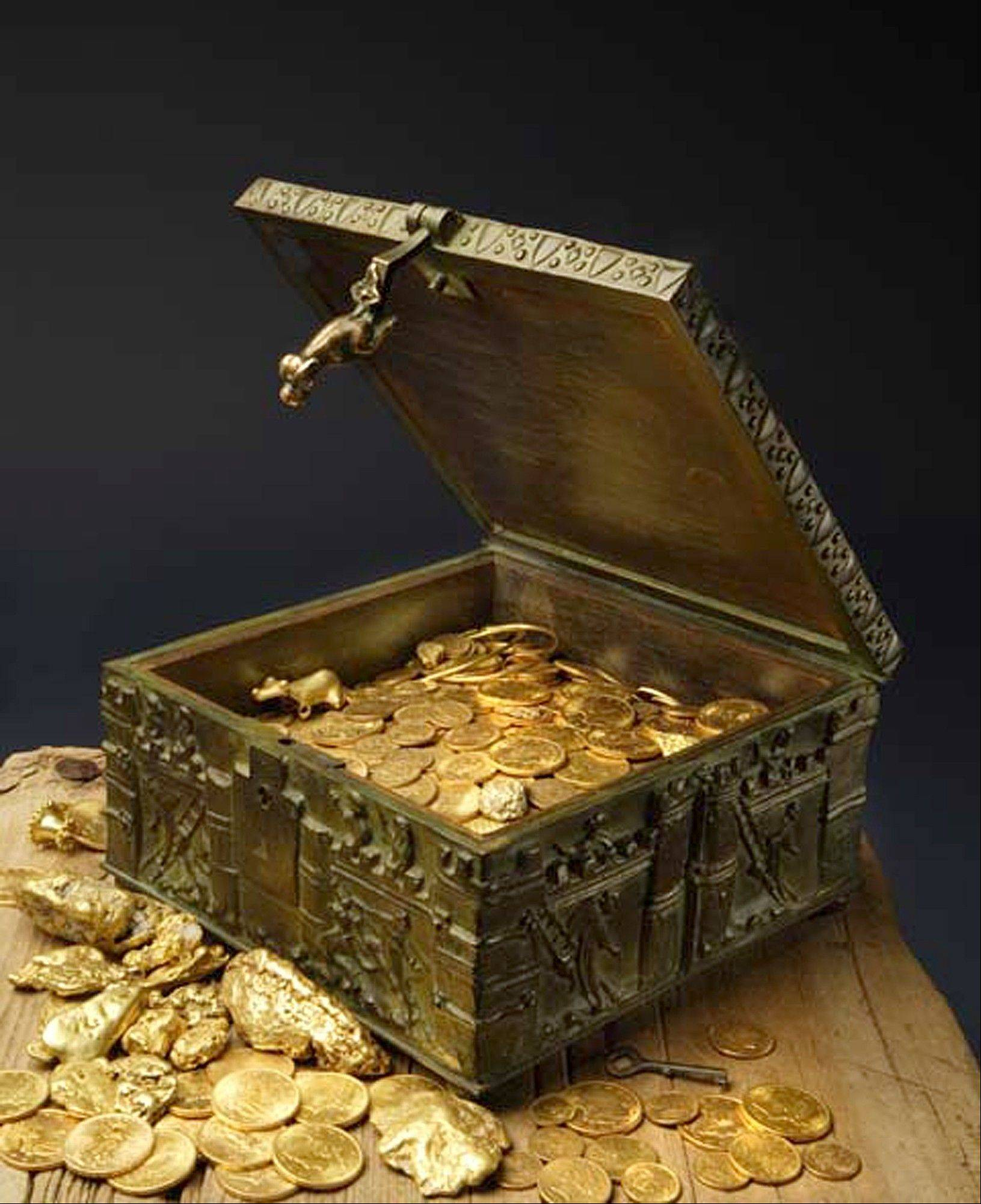 This undated photo provided by Forrest Fenn shows a chest purported to contain gold dust, hundreds of rare gold coins, gold nuggets and other artifacts.