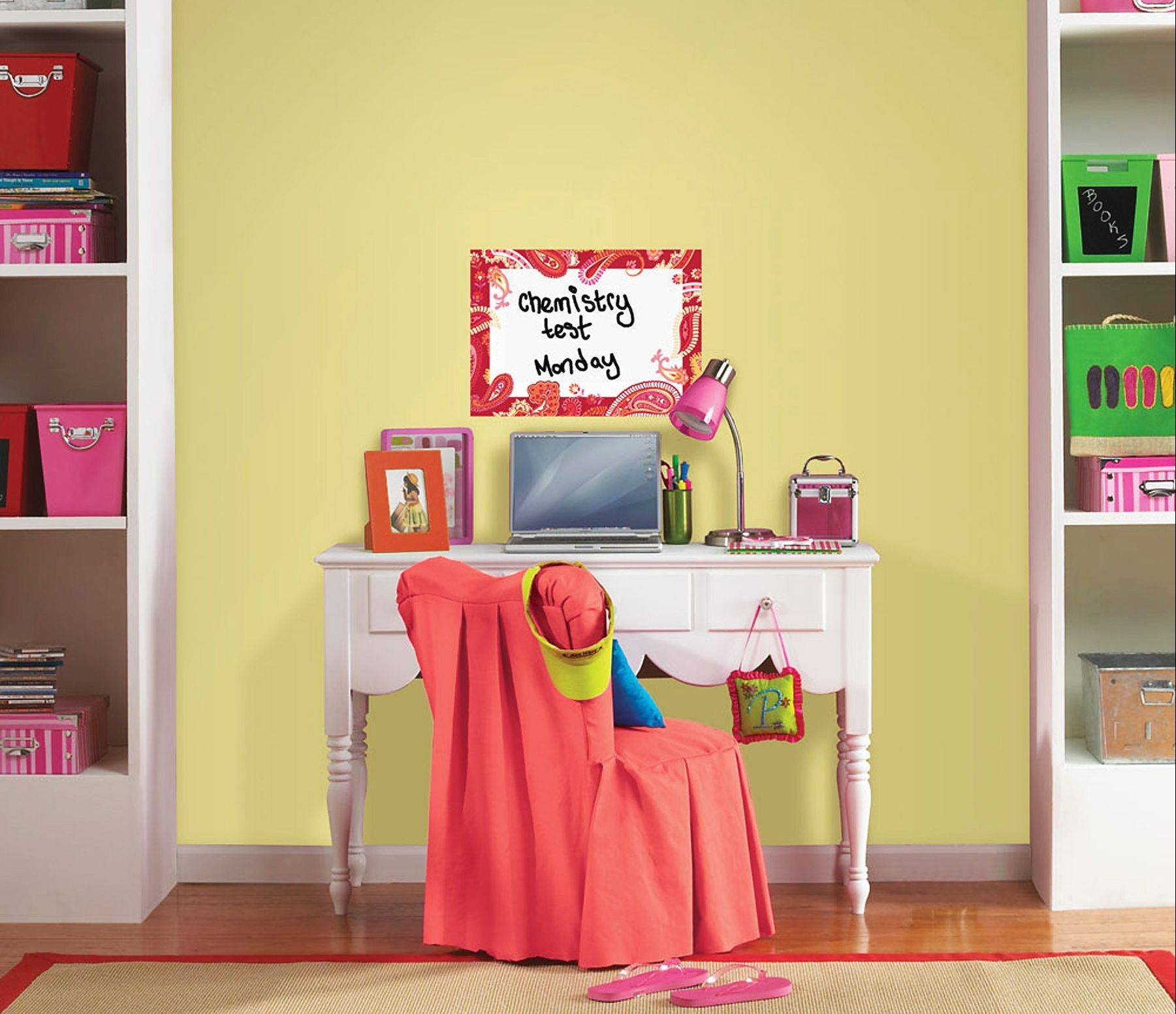 WallPops Paisley Please Red Dry-Erase Message Board can help keep a student's desk area organized.
