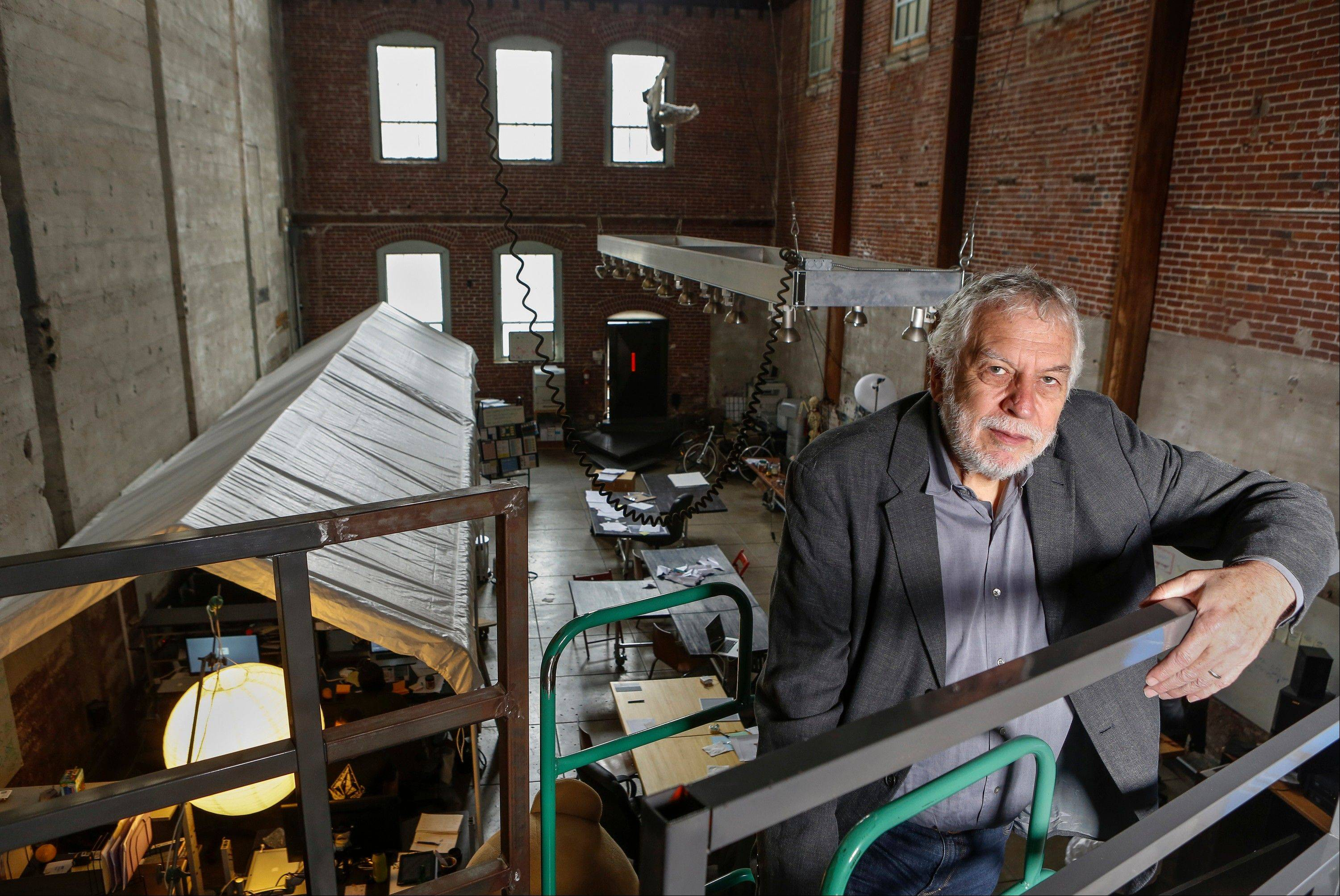 In this photo taken Wednesday, Mar. 20, 2013, Nolan Bushnell, the founder of Atari poses for a photo at �Two-Bits-Circus,� a Los Angeles idea factory focused on software, hardware and machines. Bushnell was the first guy to give Steve Jobs his first full-time job in Silicon Valley at Atari.