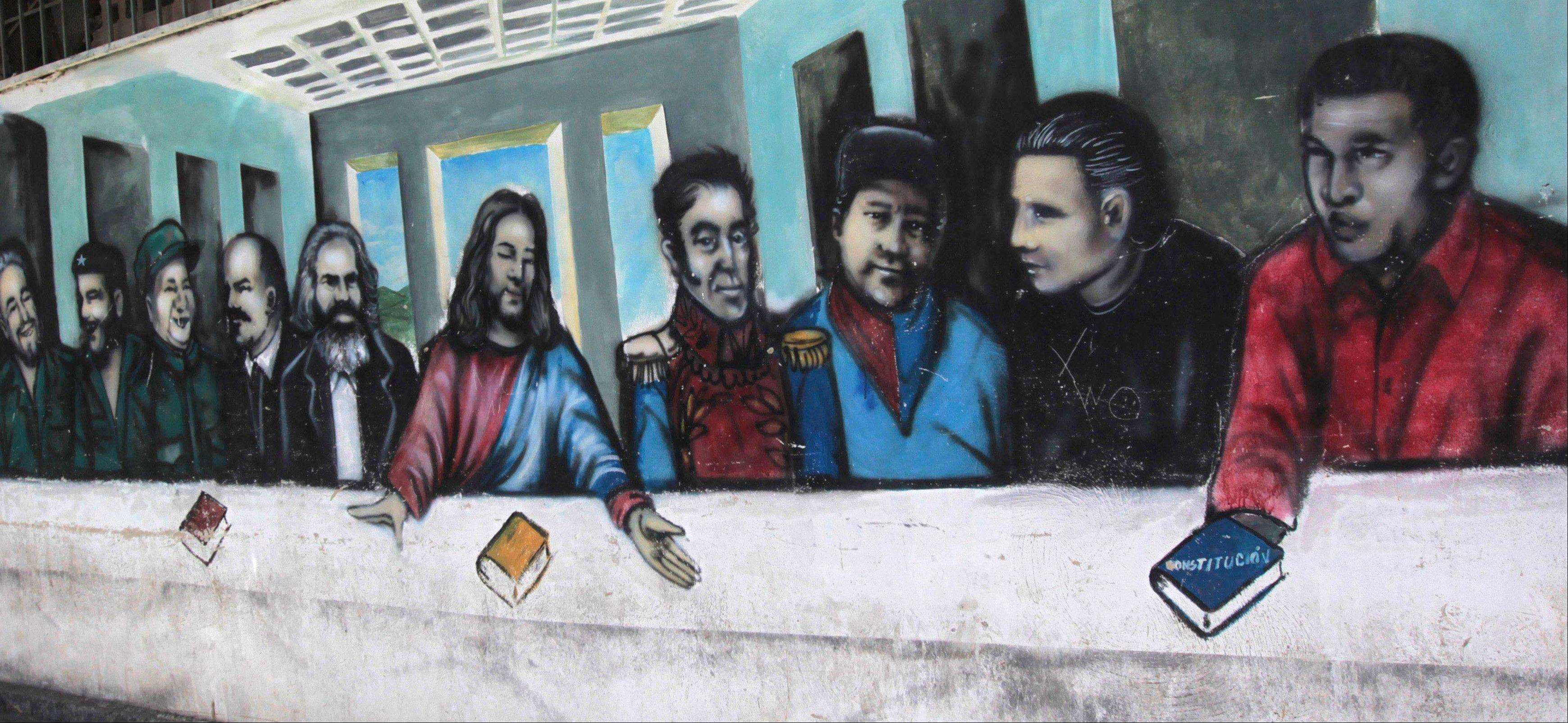 Associated Press/March 5, 2012 A mural imitating the religious painting The Last Supper covers a wall of a popular housing complex, showing from left to right, Fidel Castro, Ernesto �Che� Guevara, Mao Tse-tung, Vladimir Lenin, Karl Marx, Jesus Christ, Simon Bolivar, Venezuelan rebel fighters Alexis Gonzalez and Fabricio Ojeda and Venezuela�s President Hugo Chavez in Caracas, Venezuela.