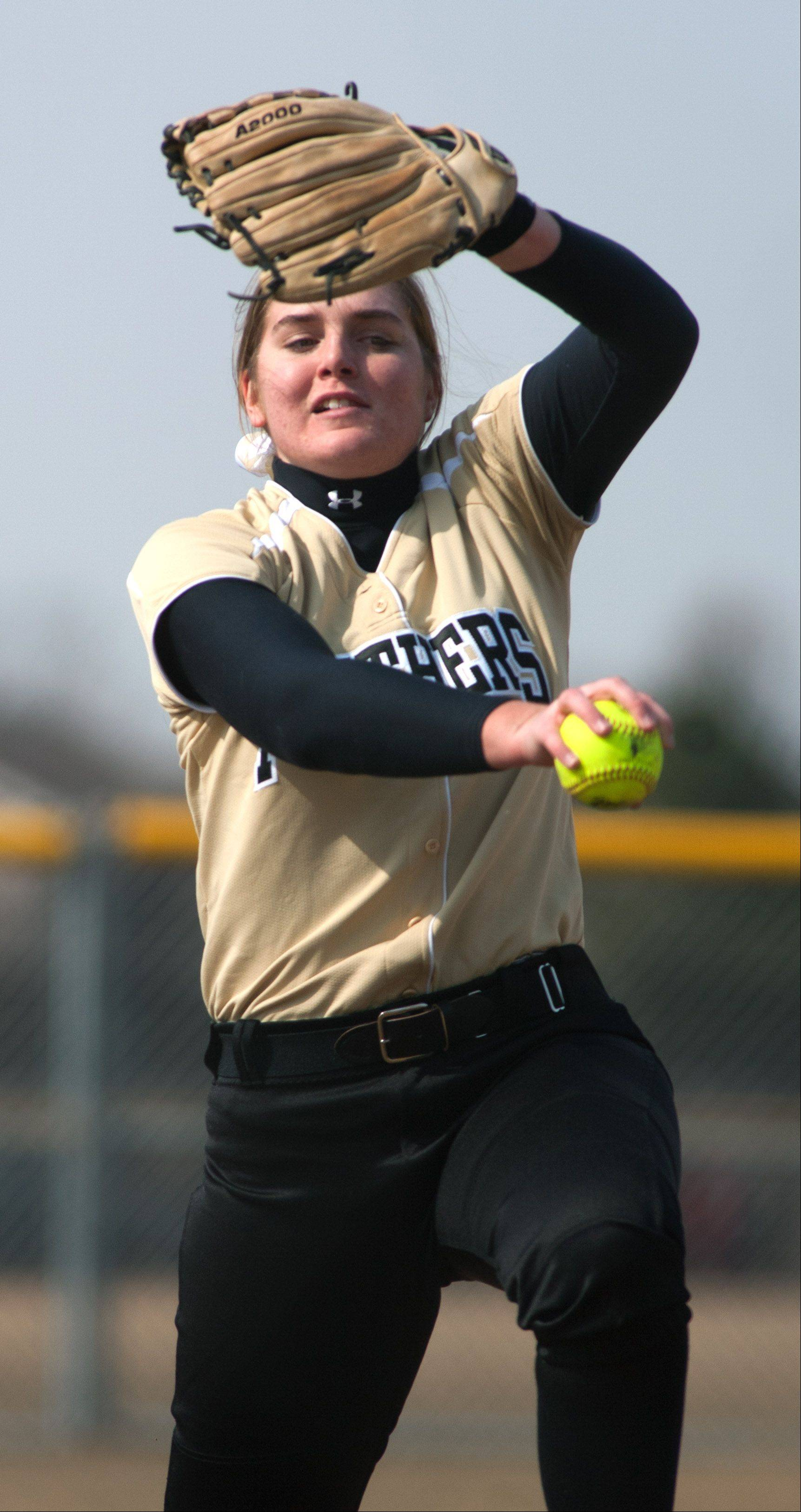 Glenbard North�s Lindsey Cherry delivers a pitch against York during girls softball action.